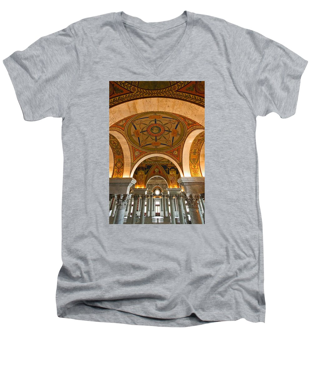 Library of congress arches and murals 2 adult v neck for for Murals on the t shirt