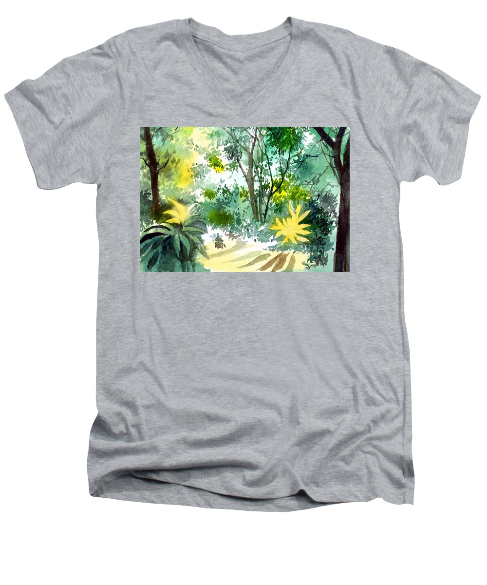 Landscape Men's V-Neck T-Shirt featuring the painting Morning Glory by Anil Nene