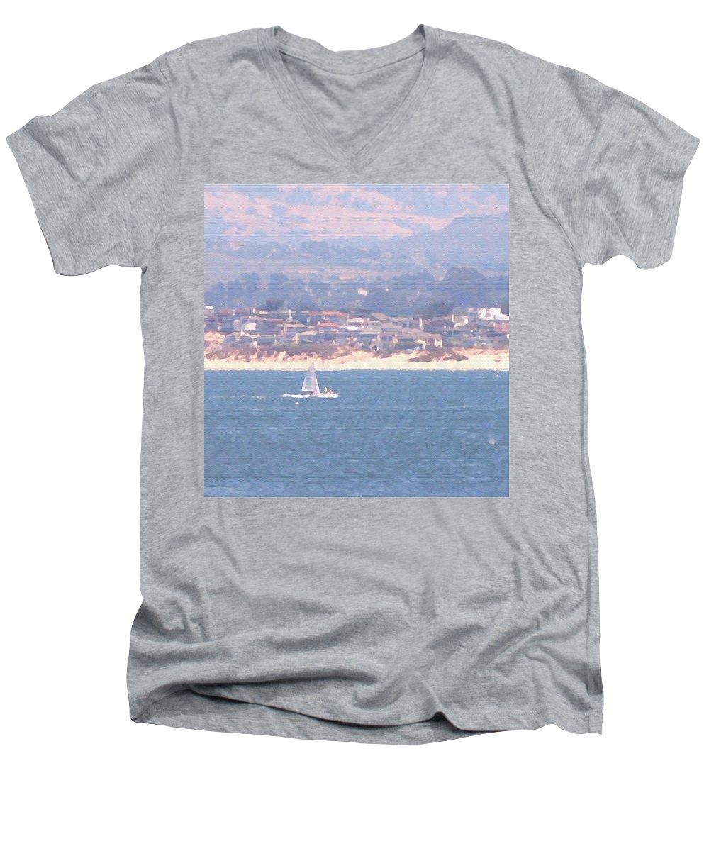 Sailing Men's V-Neck T-Shirt featuring the photograph Pastel Sail by Pharris Art