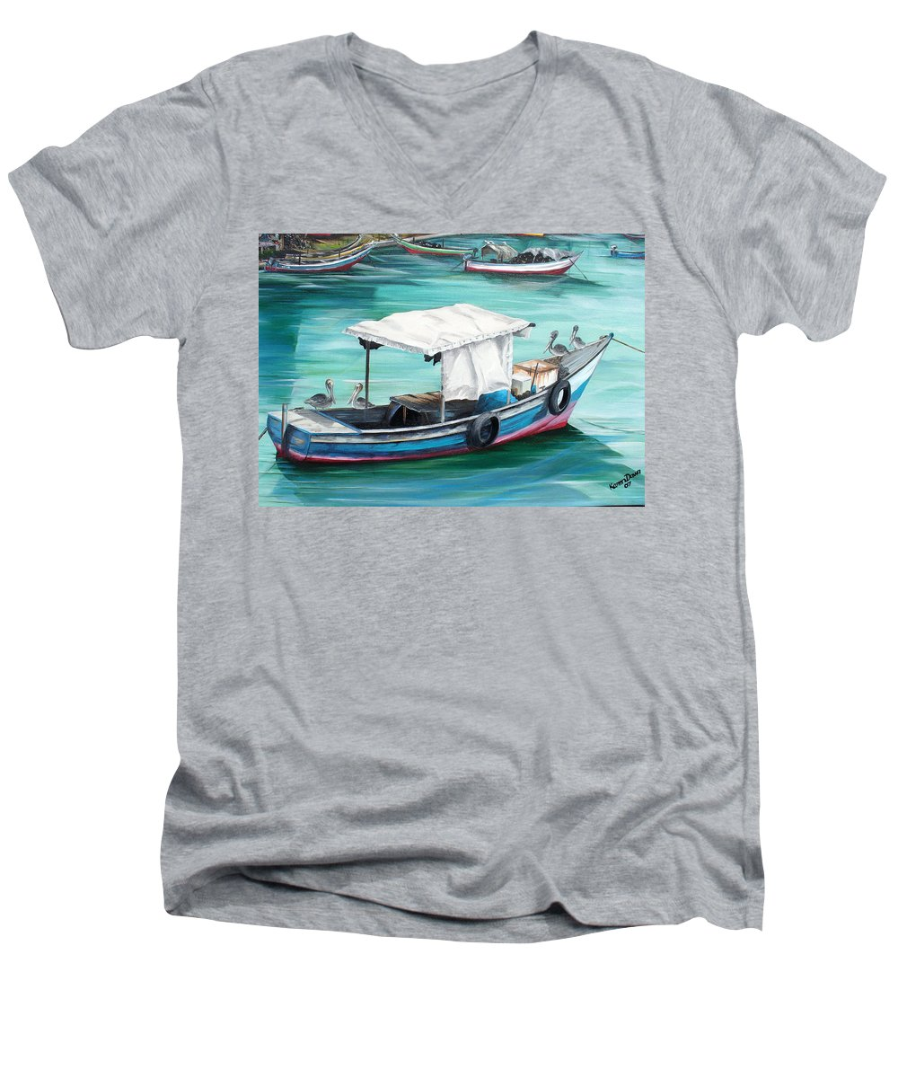 Fishing Boat Painting Seascape Ocean Painting Pelican Painting Boat Painting Caribbean Painting Pirogue Oil Fishing Boat Trinidad And Tobago Men's V-Neck T-Shirt featuring the painting Pirogue Fishing Boat by Karin Dawn Kelshall- Best