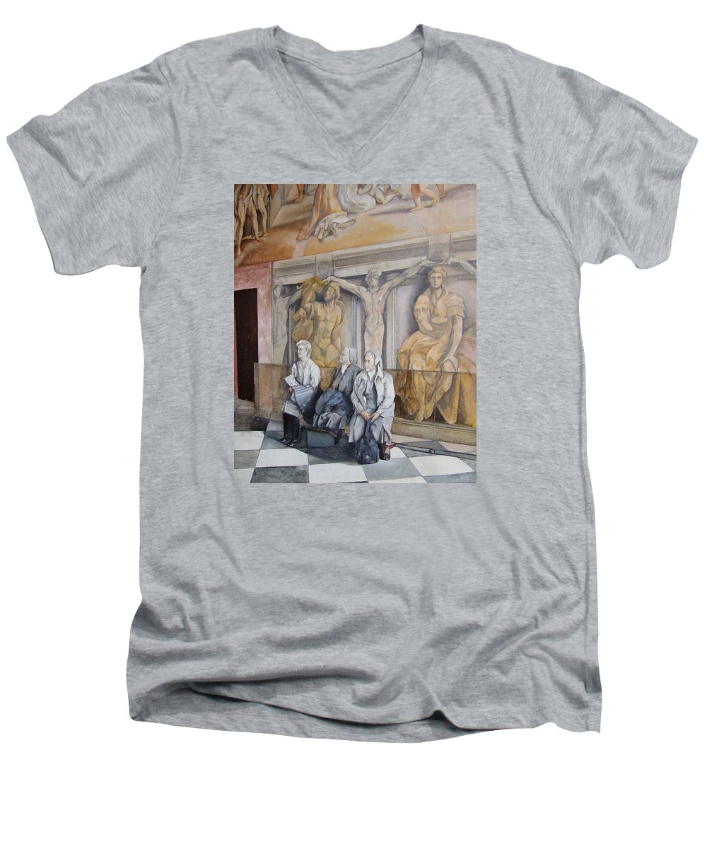 Vaticano Men's V-Neck T-Shirt featuring the painting Reposo En El Vaticano by Tomas Castano