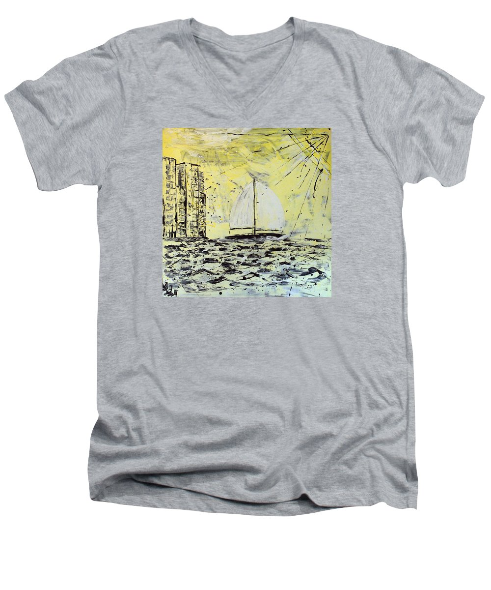 Sailboat With Sunray Men's V-Neck T-Shirt featuring the painting Sail And Sunrays by J R Seymour
