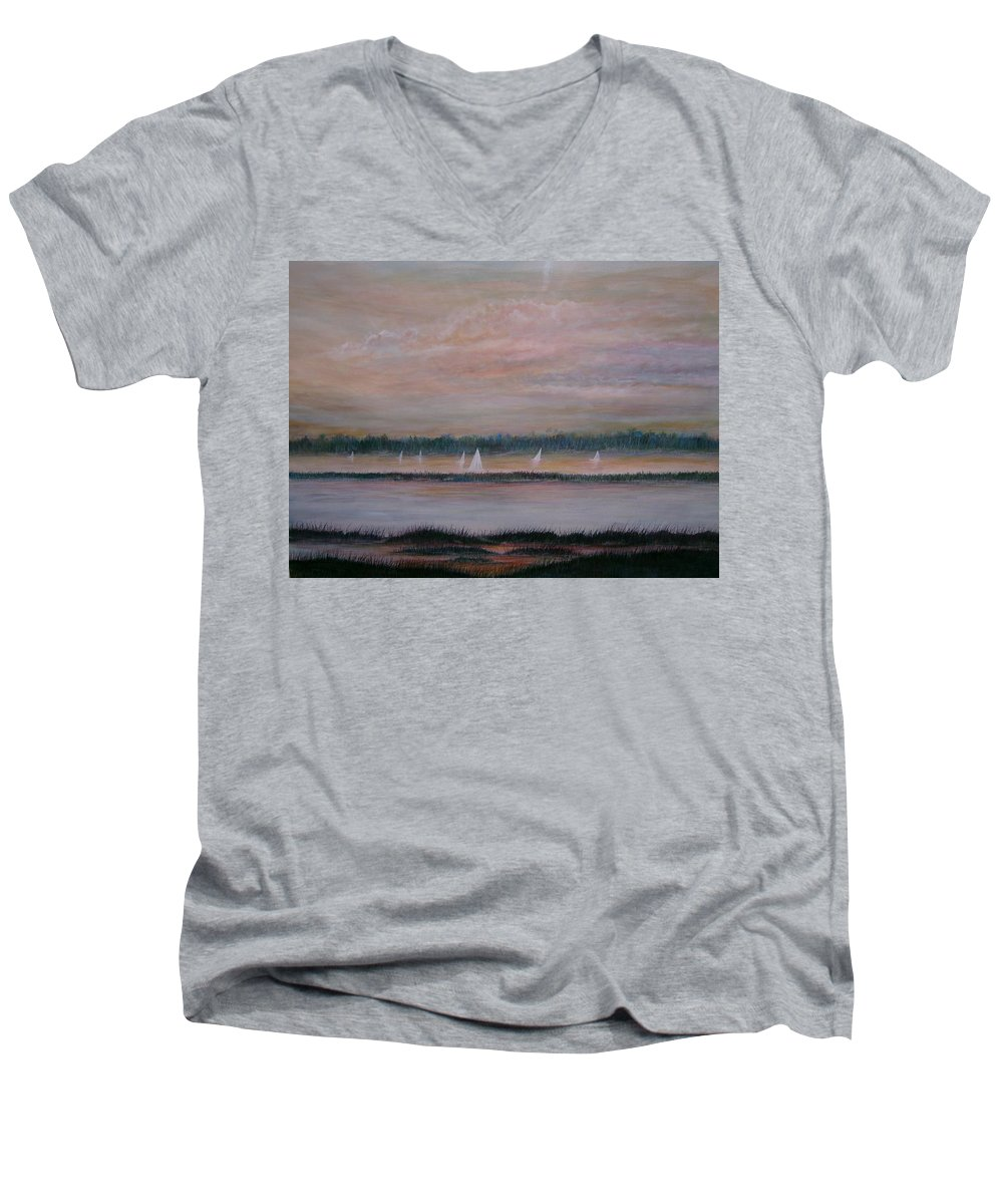 Sailboats; Marsh; Sunset Men's V-Neck T-Shirt featuring the painting Sails In The Sunset by Ben Kiger