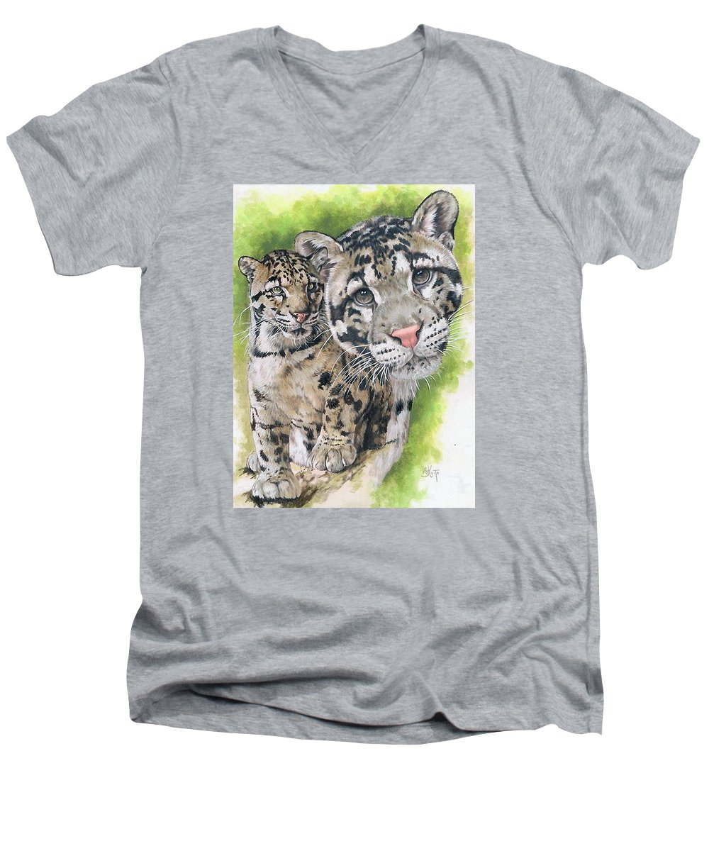 Clouded Leopard Men's V-Neck T-Shirt featuring the painting Sovereignty by Barbara Keith