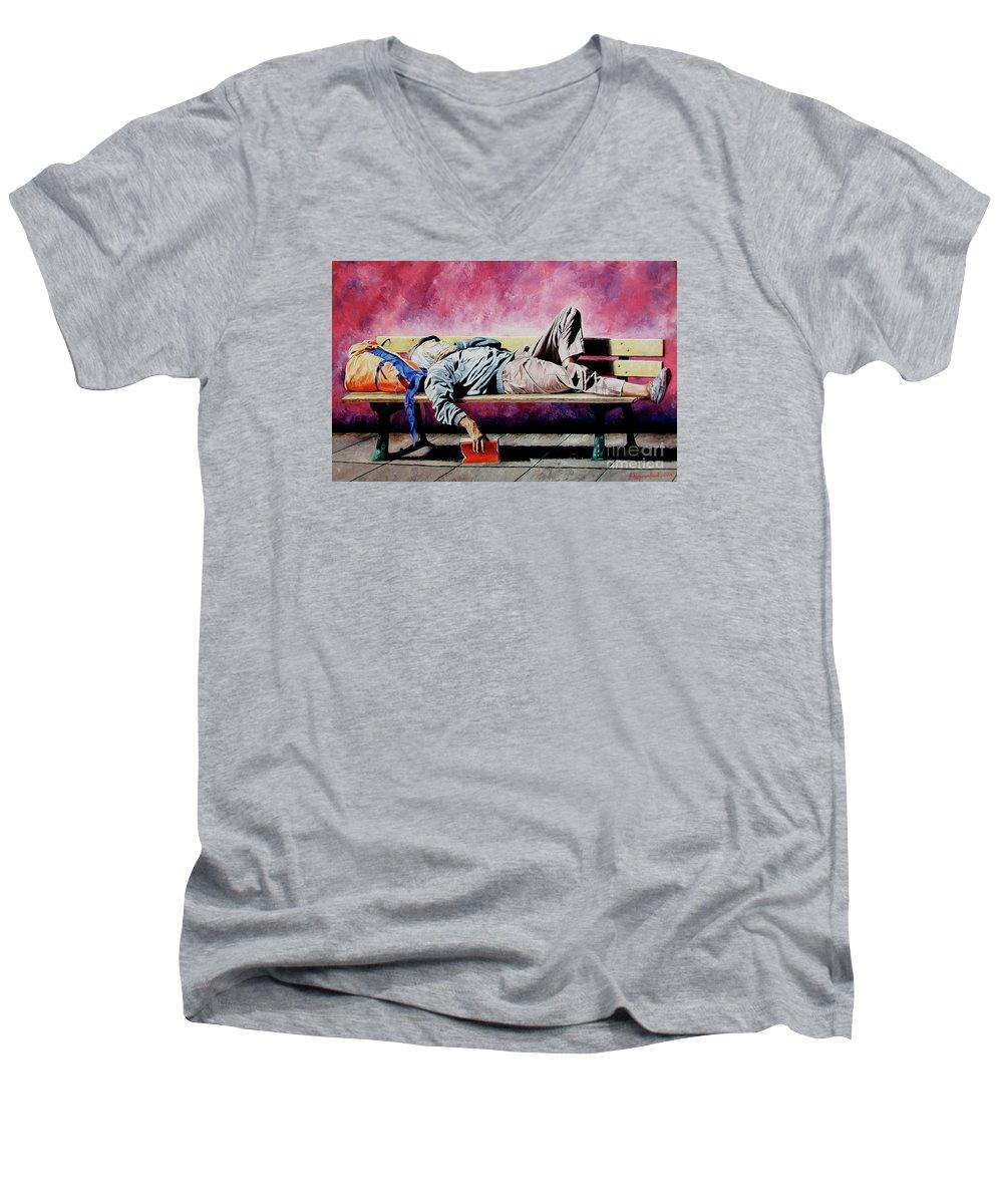 Figurative Men's V-Neck T-Shirt featuring the painting The Traveler 1 - El Viajero 1 by Rezzan Erguvan-Onal