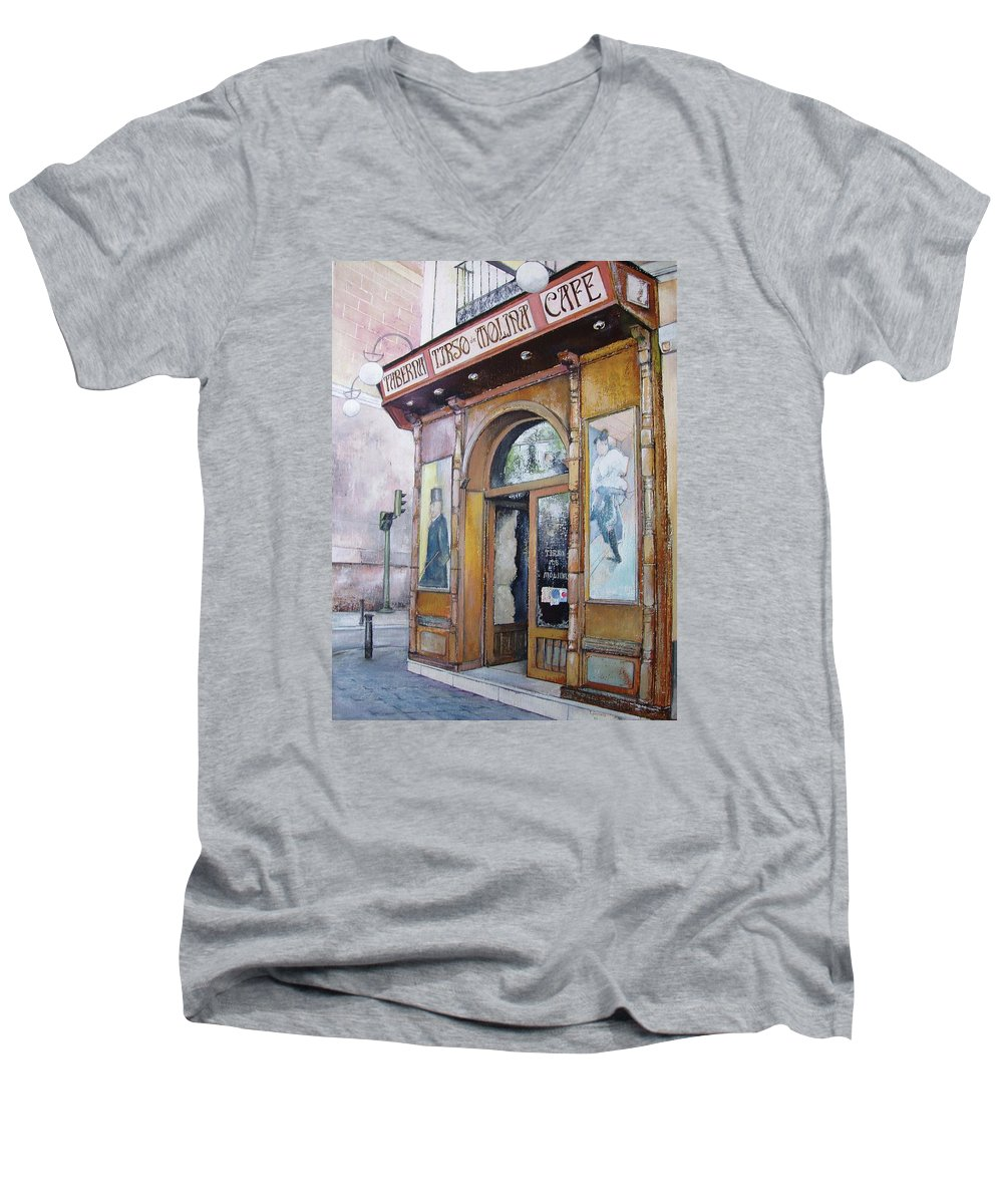 Tirso Men's V-Neck T-Shirt featuring the painting Tirso De Molina Old Tavern by Tomas Castano