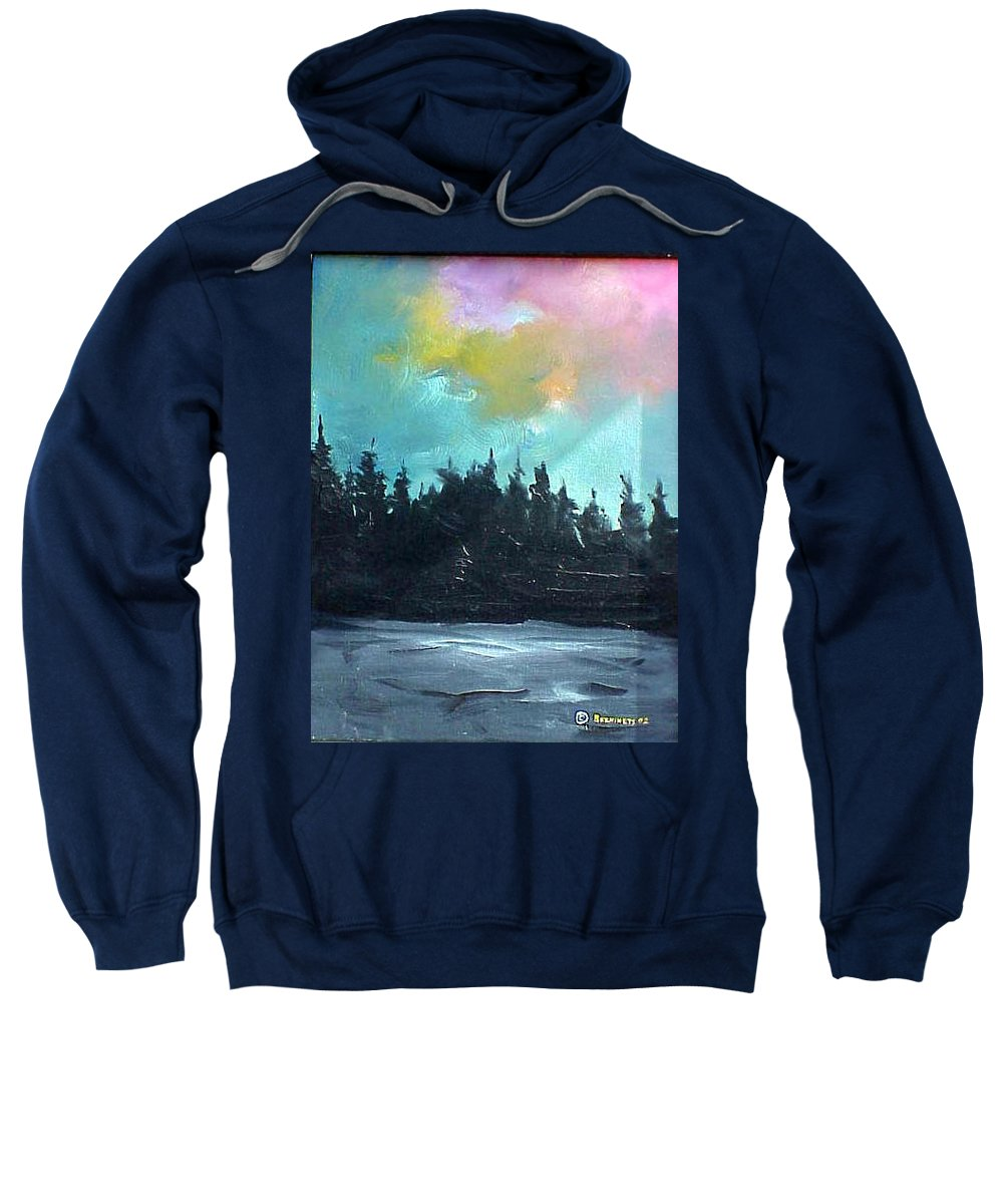 Landscape Sweatshirt featuring the painting Night River by Sergey Bezhinets