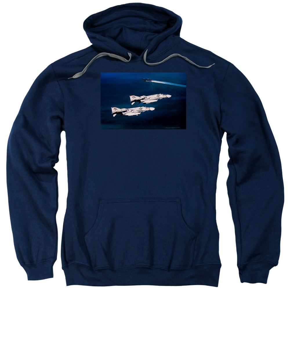 Military Sweatshirt featuring the painting Forrestal S Phantoms by Marc Stewart