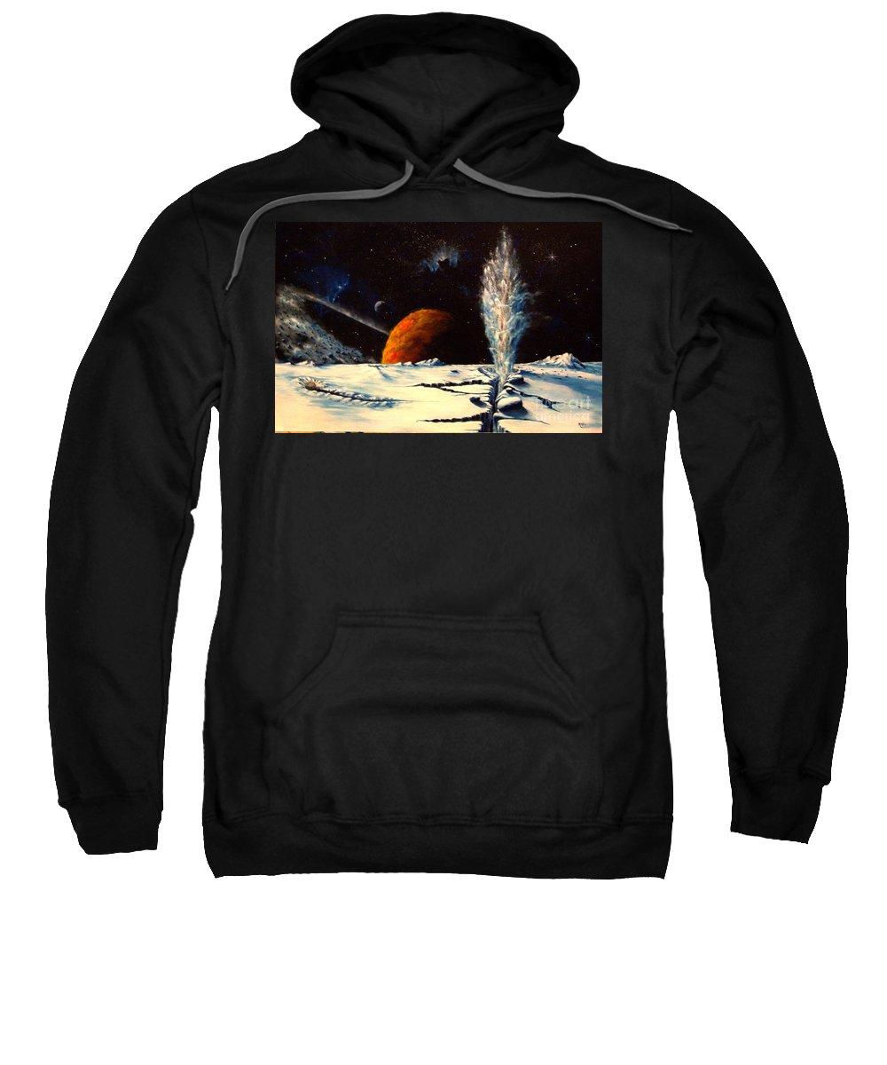 Landscape. Geyser Sweatshirt featuring the painting Frozen Geyser by Murphy Elliott