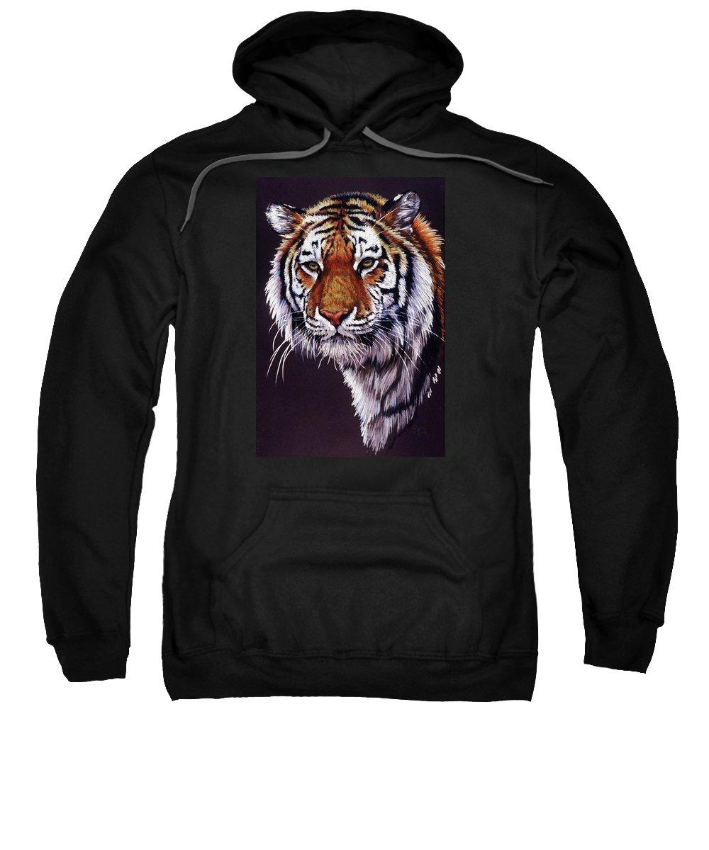 Tiger Sweatshirt featuring the drawing Desperado by Barbara Keith