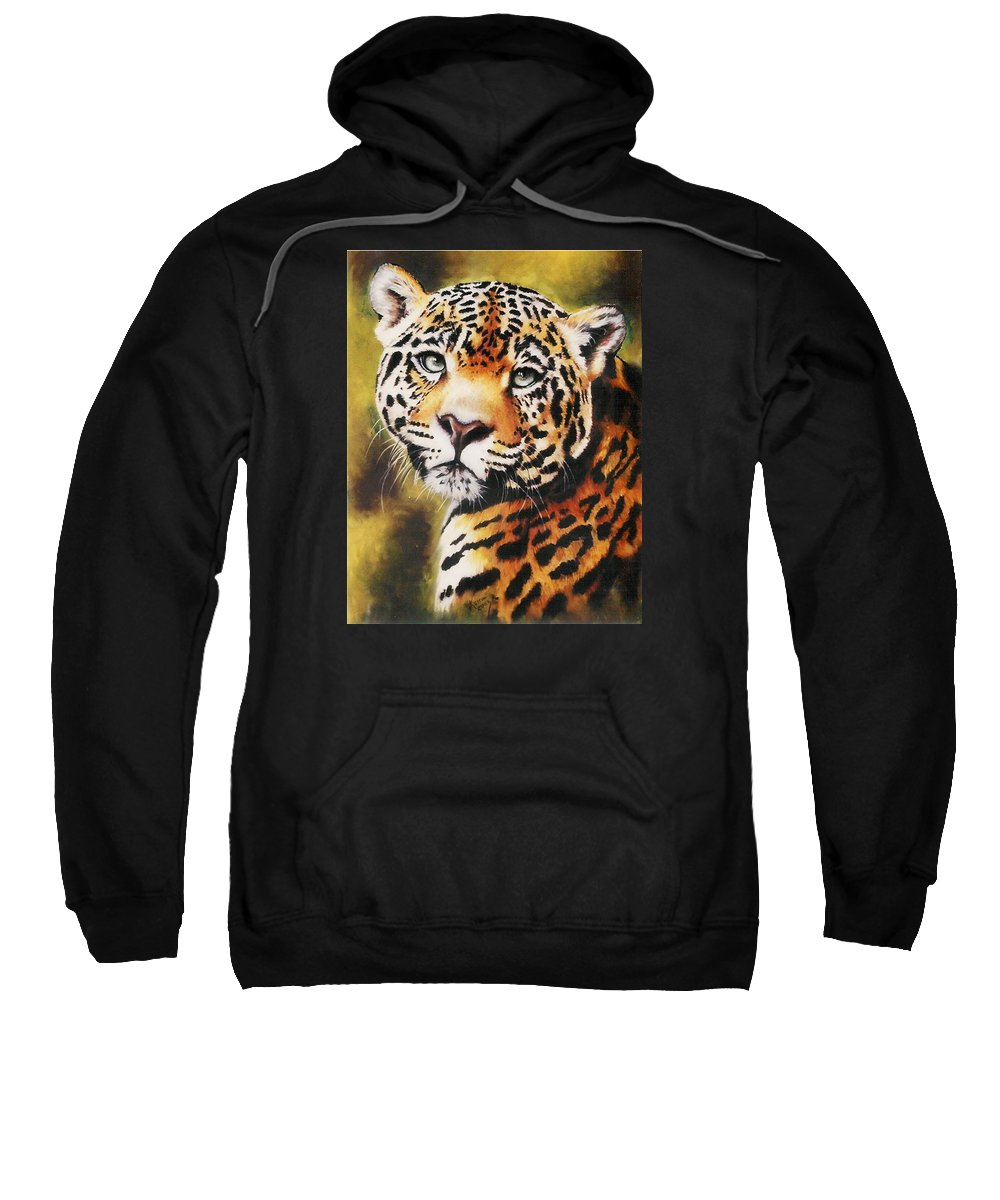Jaguar Sweatshirt featuring the painting Enchantress by Barbara Keith