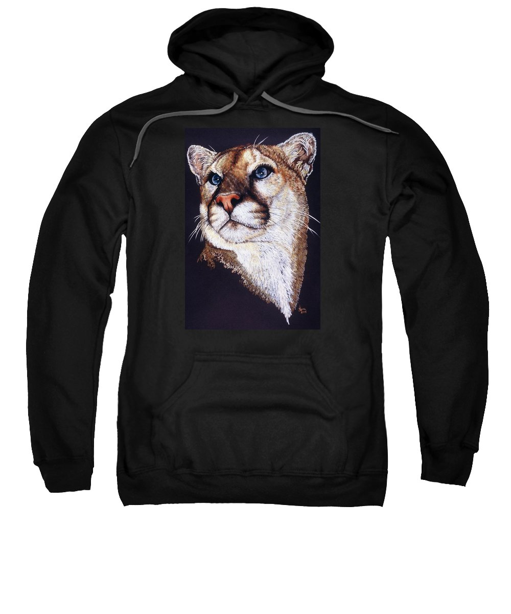 Cougar Sweatshirt featuring the drawing Intense by Barbara Keith