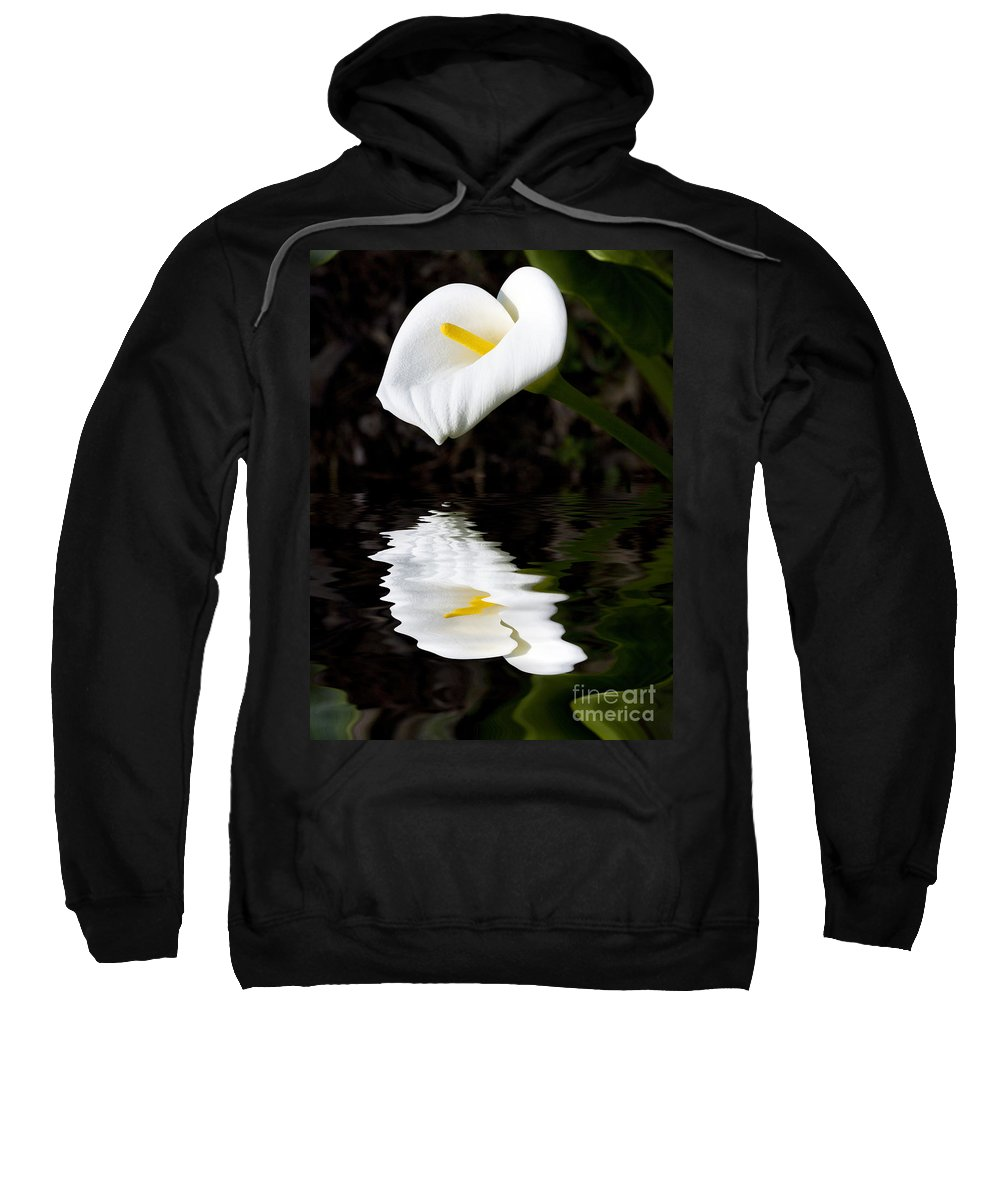 Lily Reflection Flora Flower Sweatshirt featuring the photograph Lily Reflection by Avalon Fine Art Photography