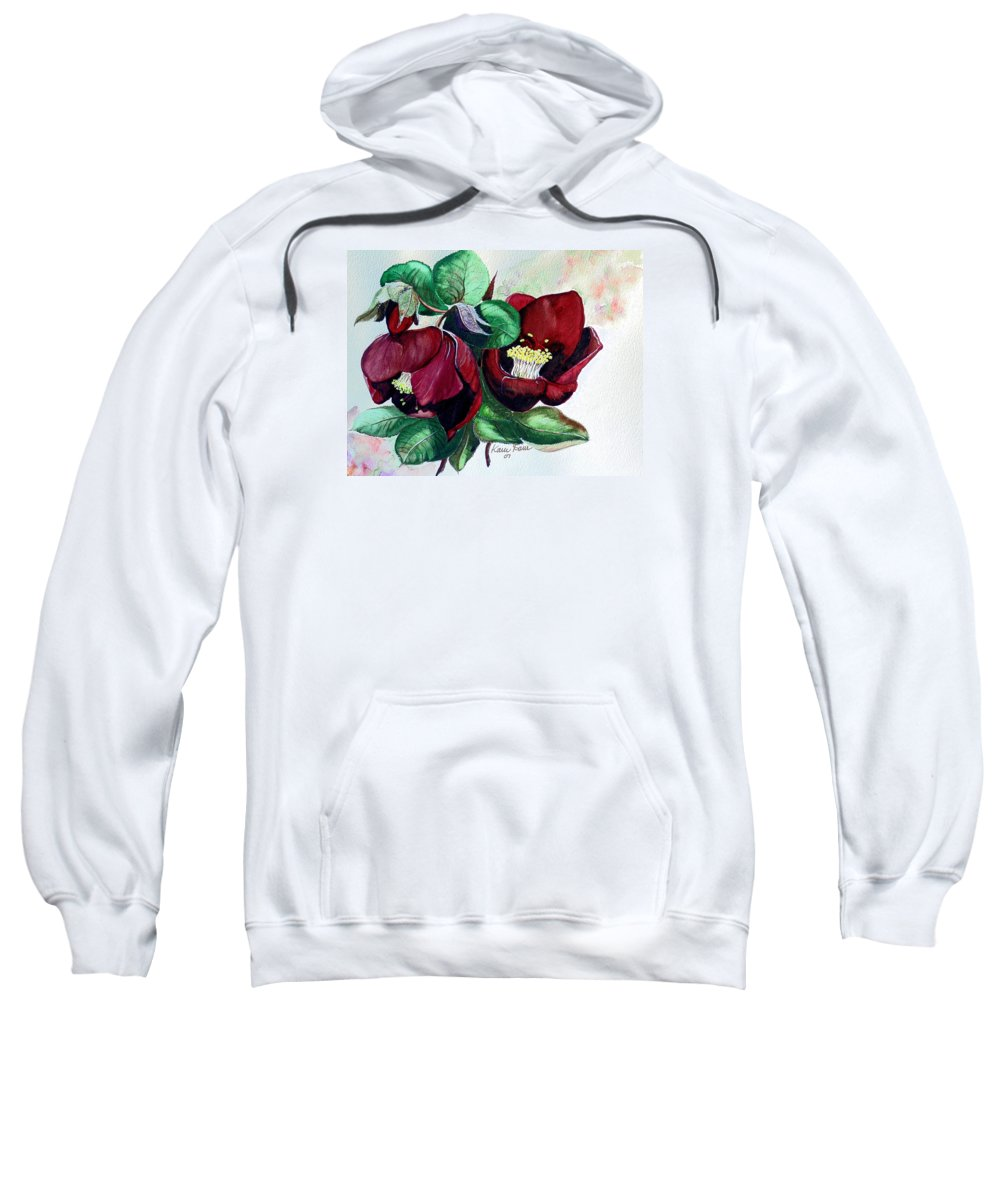 Red Helleborous Painting Flower Painting  Botanical Painting Watercolor Painting Original Painting Floral Painting Flower Painting Red Painting  Greeting Painting Sweatshirt featuring the painting Red Helleborous by Karin Dawn Kelshall- Best