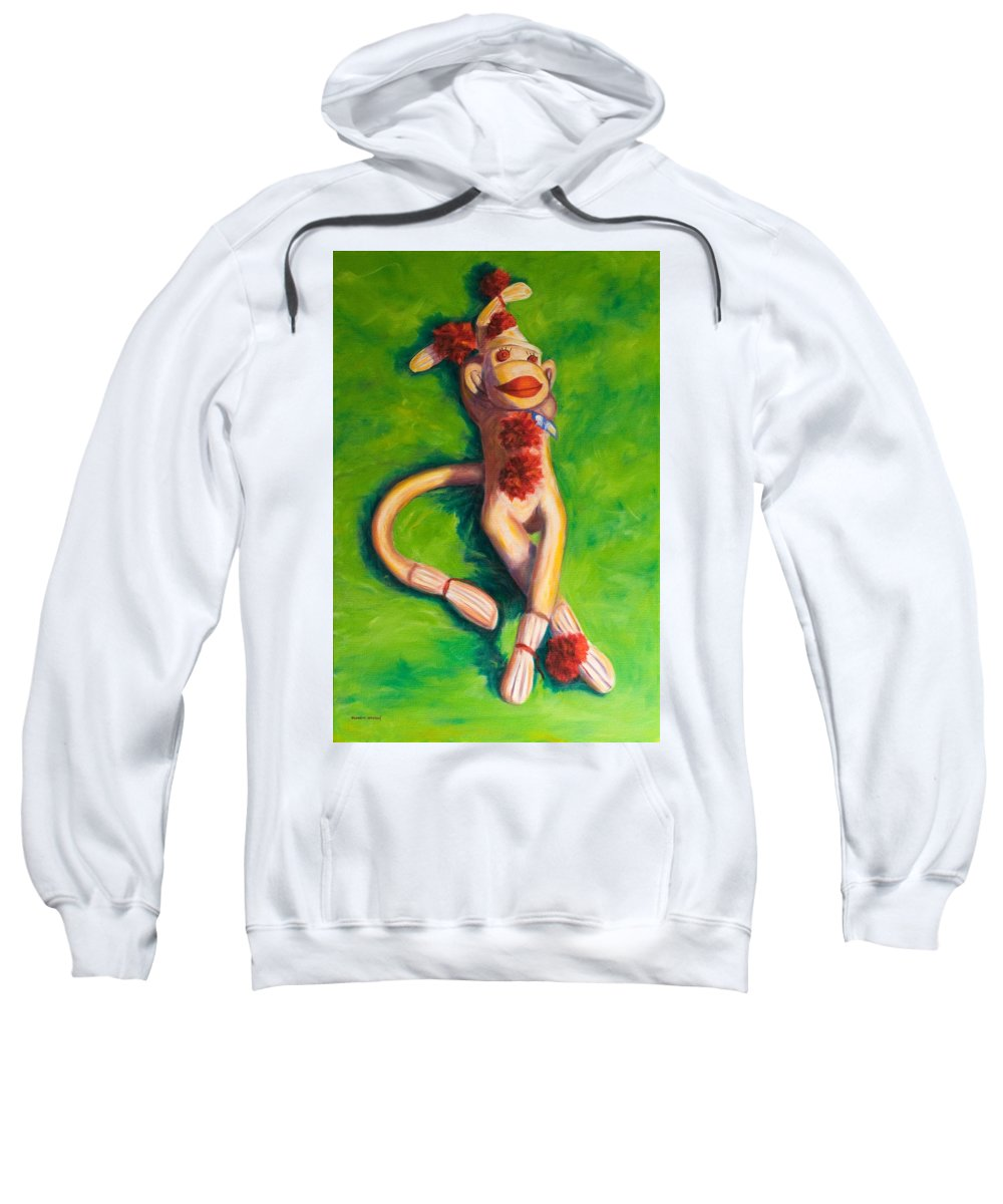 Sock Monkey Sweatshirt featuring the painting Life Is Good by Shannon Grissom