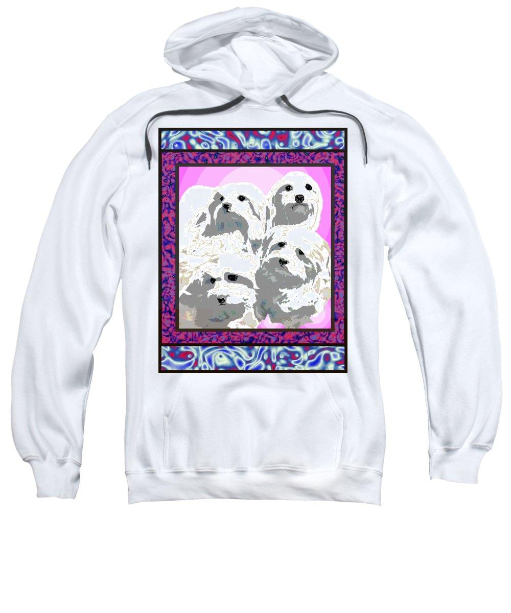 Maltese Group Sweatshirt featuring the digital art Maltese Group by Kathleen Sepulveda