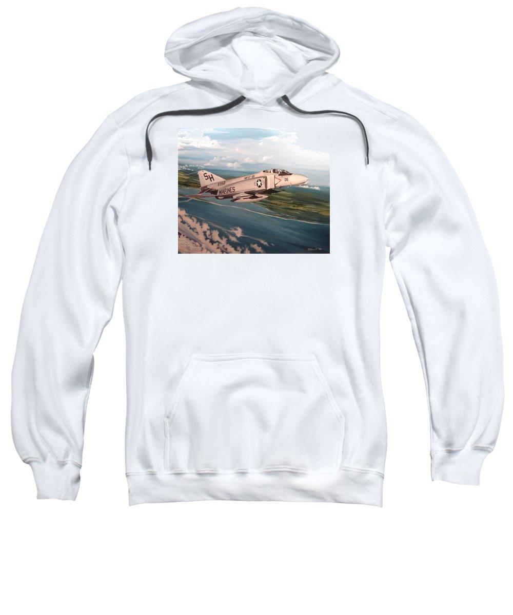 Aviation Sweatshirt featuring the painting Marine Phantom by Marc Stewart