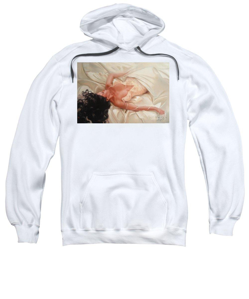 Art Sweatshirt featuring the painting Silk And Thrill by Sergey Ignatenko