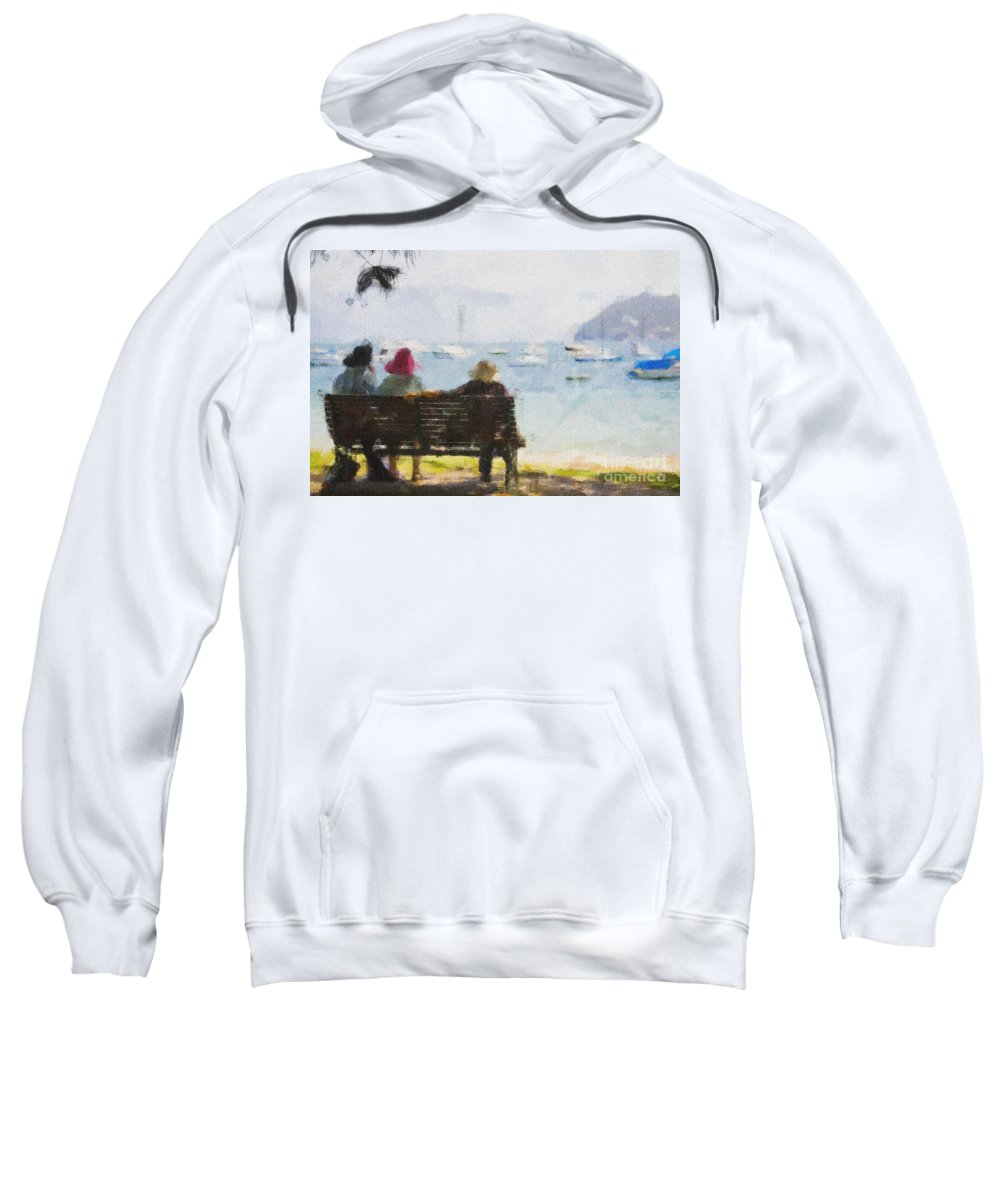 Impressionism Impressionist Water Boats Three Ladies Seat Sweatshirt featuring the photograph Three Ladies by Avalon Fine Art Photography