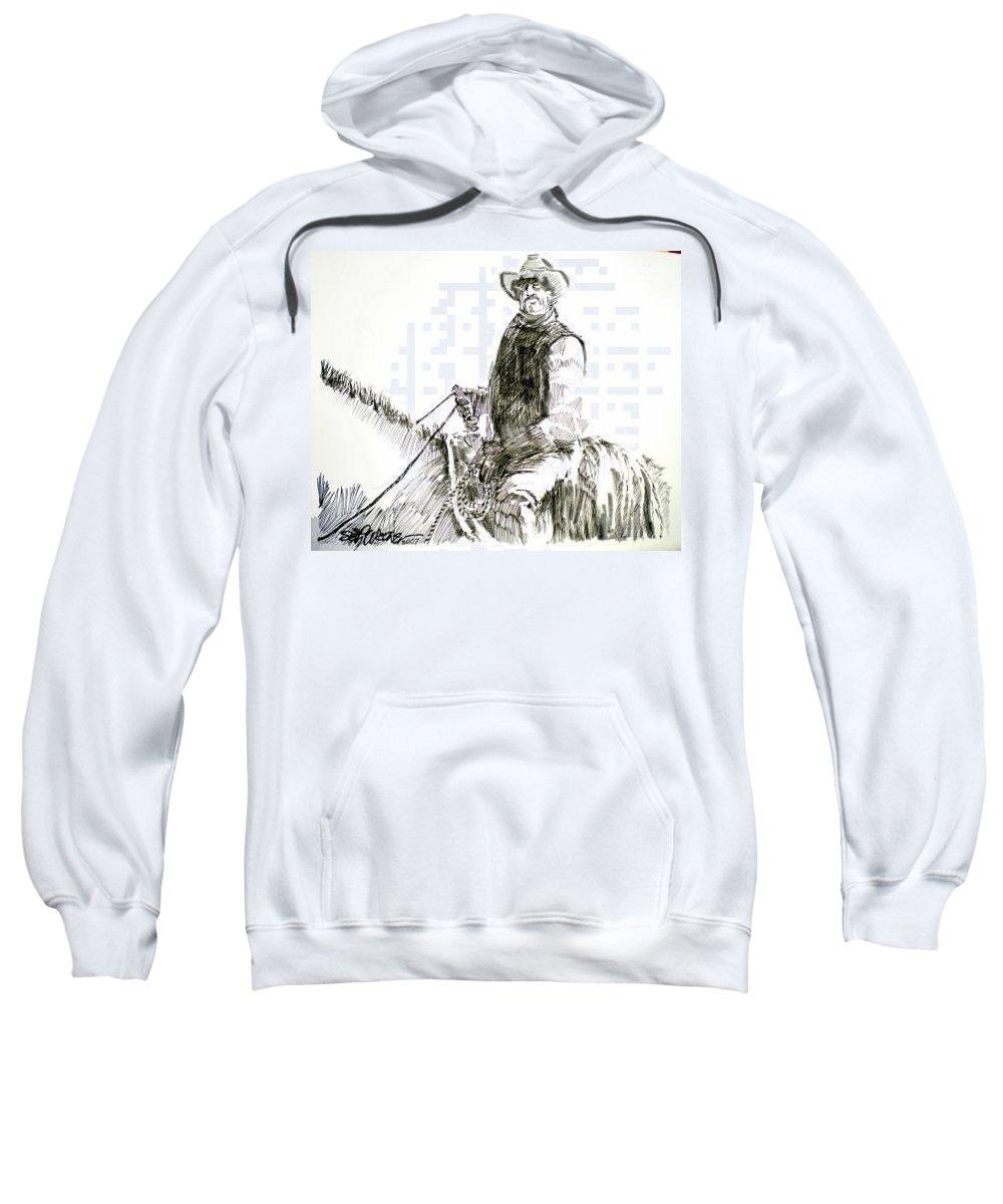 Trail Boss Sweatshirt featuring the drawing Trail Boss by Seth Weaver