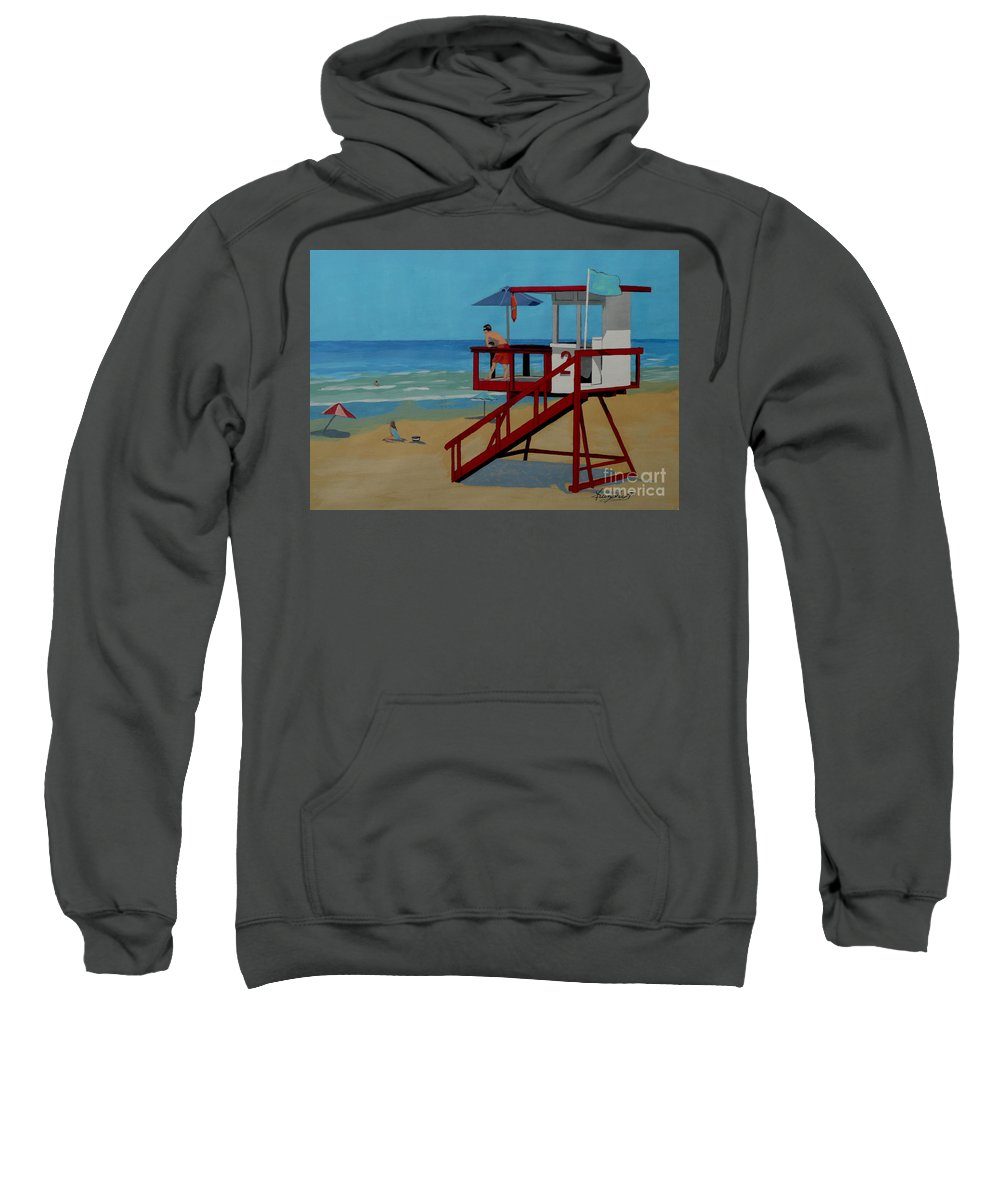Lifeguard Sweatshirt featuring the painting Distracted Lifeguard by Anthony Dunphy