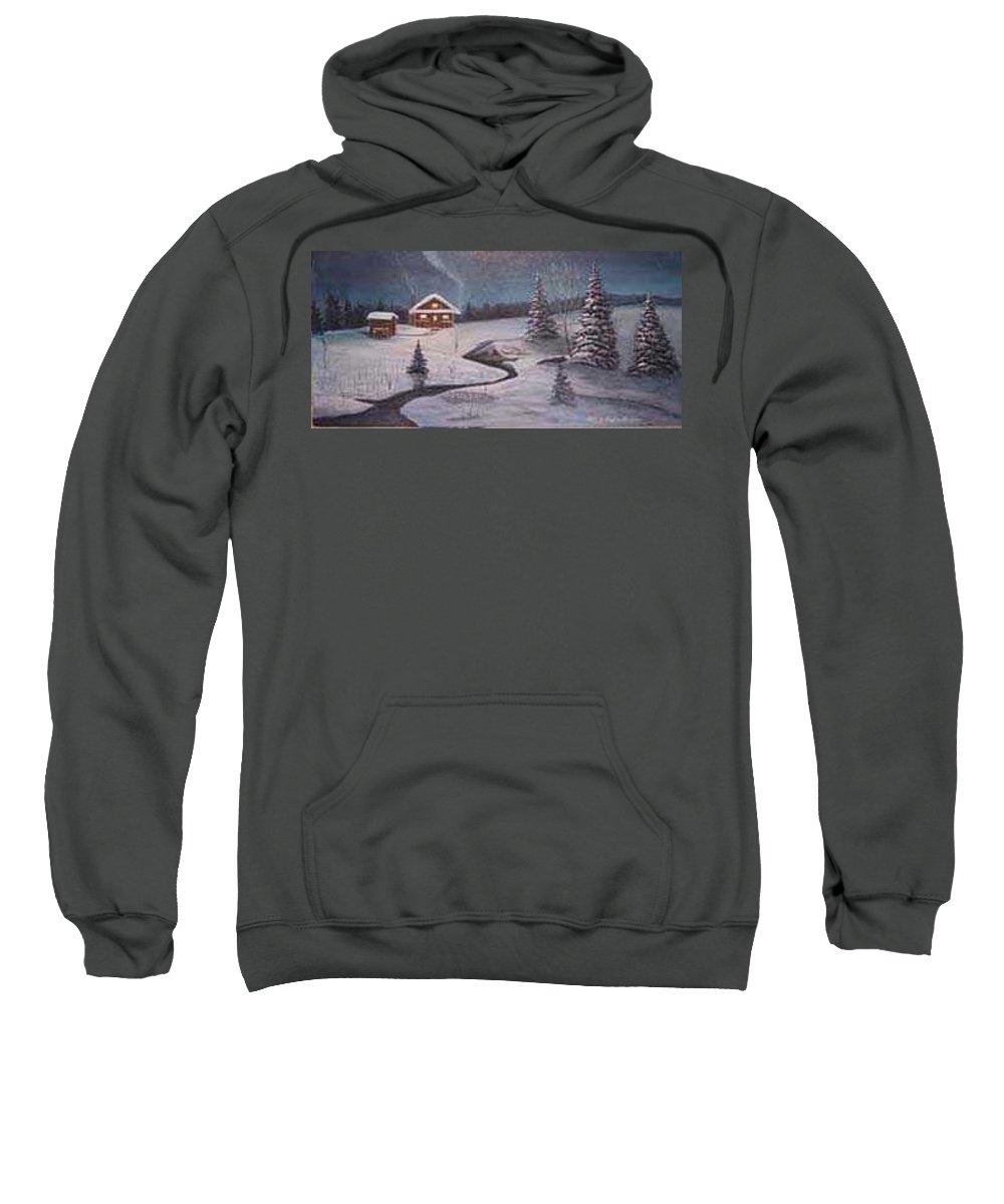 Rick Huotari Sweatshirt featuring the painting North Woods Cabin by Rick Huotari