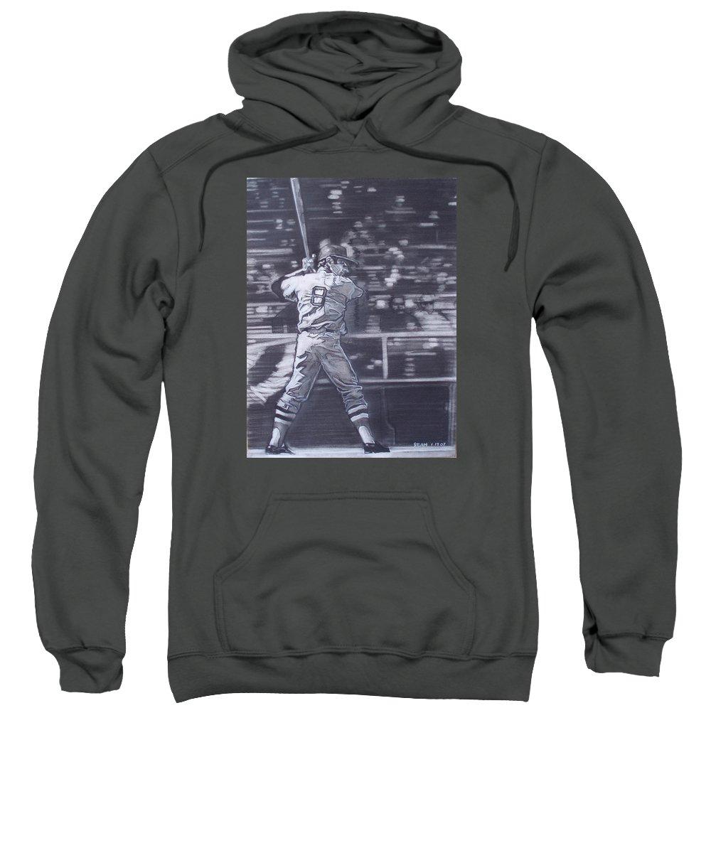 Charcoal Sweatshirt featuring the drawing Yaz - Carl Yastrzemski by Sean Connolly