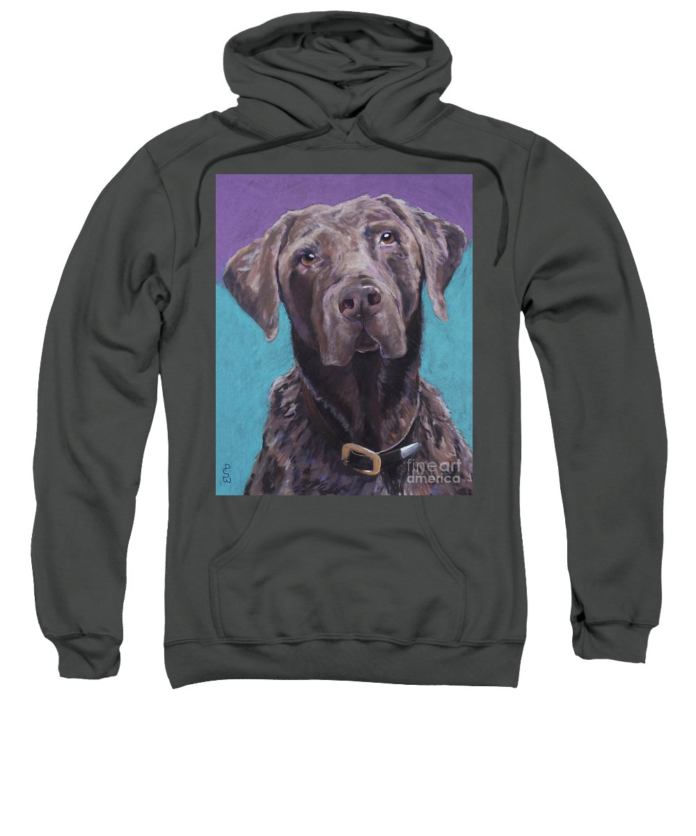 Pet Portrait Commissions Sweatshirt featuring the painting 100 Lbs. Of Chocolate Love by Pat Saunders-White