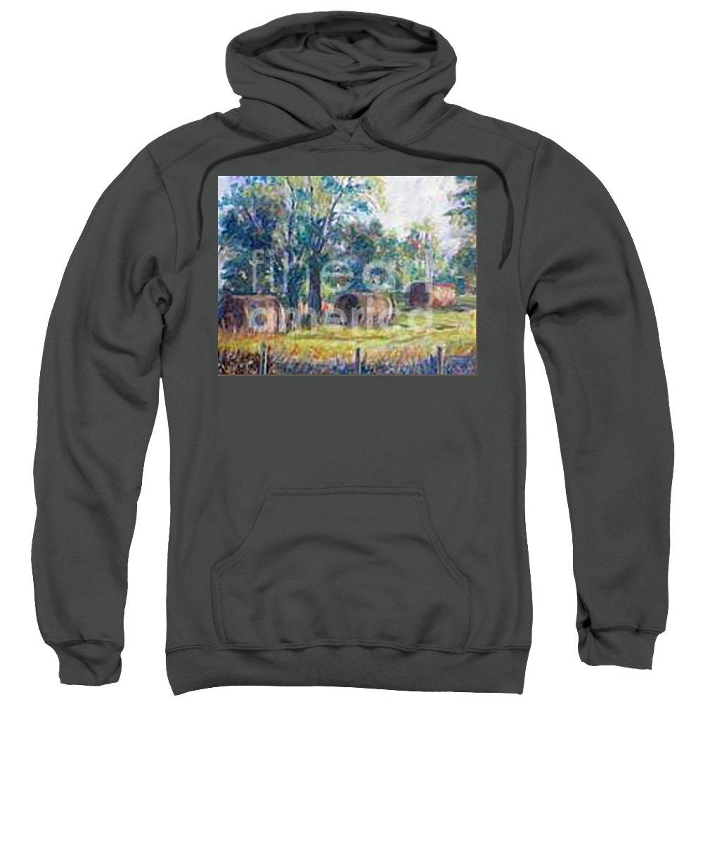 Landscape Sweatshirt featuring the painting Summer Idyll by Jan Bennicoff