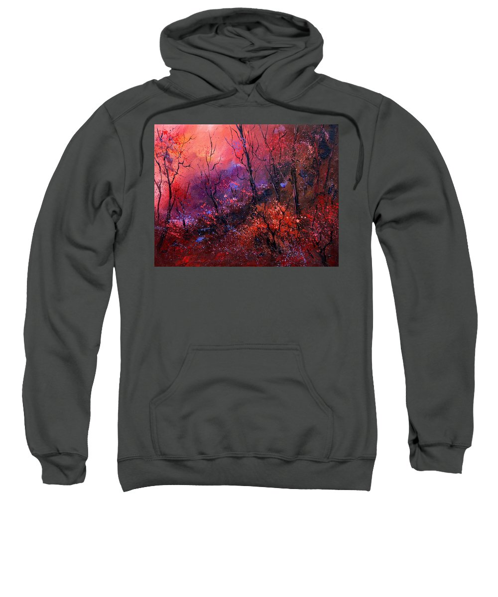 Wood Sunset Tree Sweatshirt featuring the painting Unset In The Wood by Pol Ledent