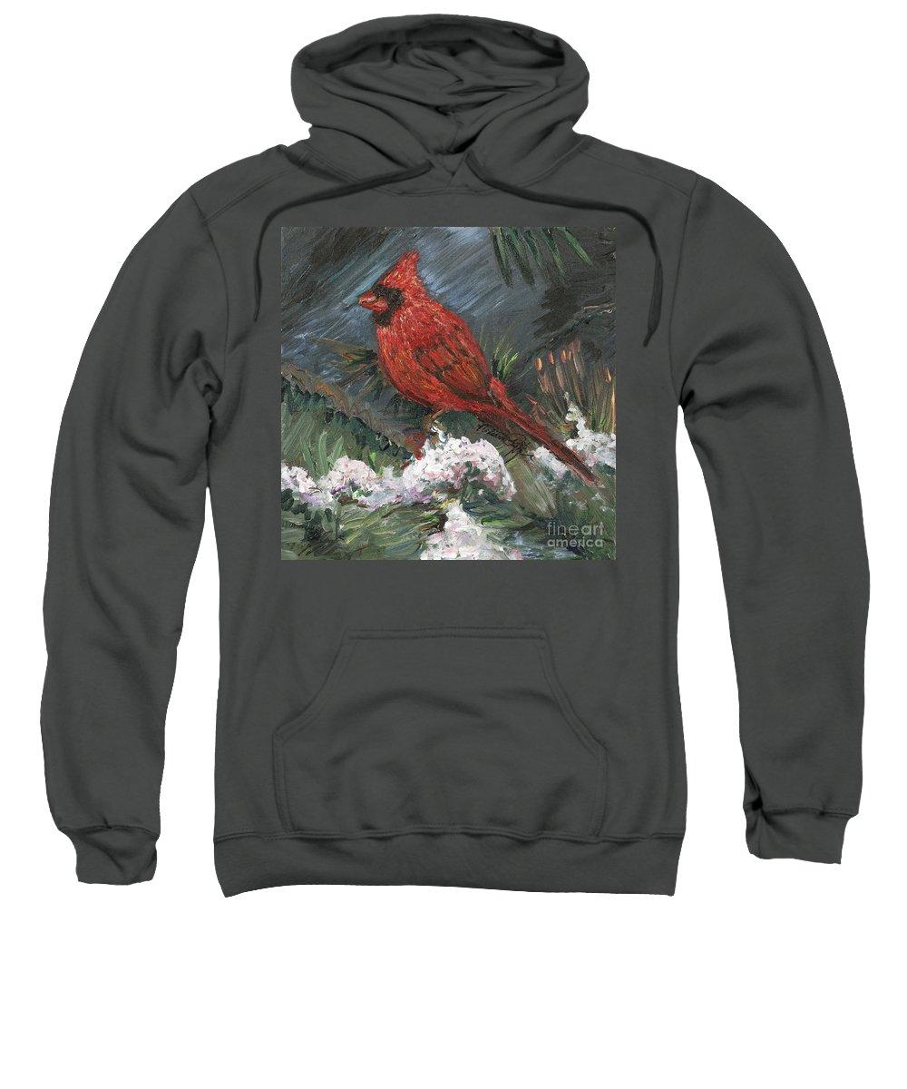 Bird Sweatshirt featuring the painting Winter Cardinal by Nadine Rippelmeyer