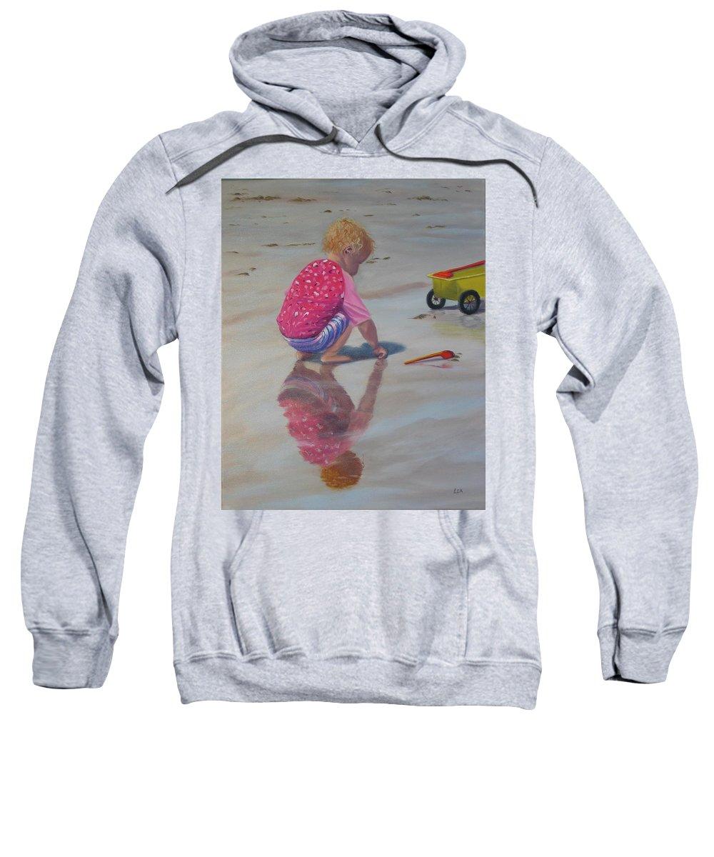 Baby Sweatshirt featuring the painting Beach Baby by Lea Novak