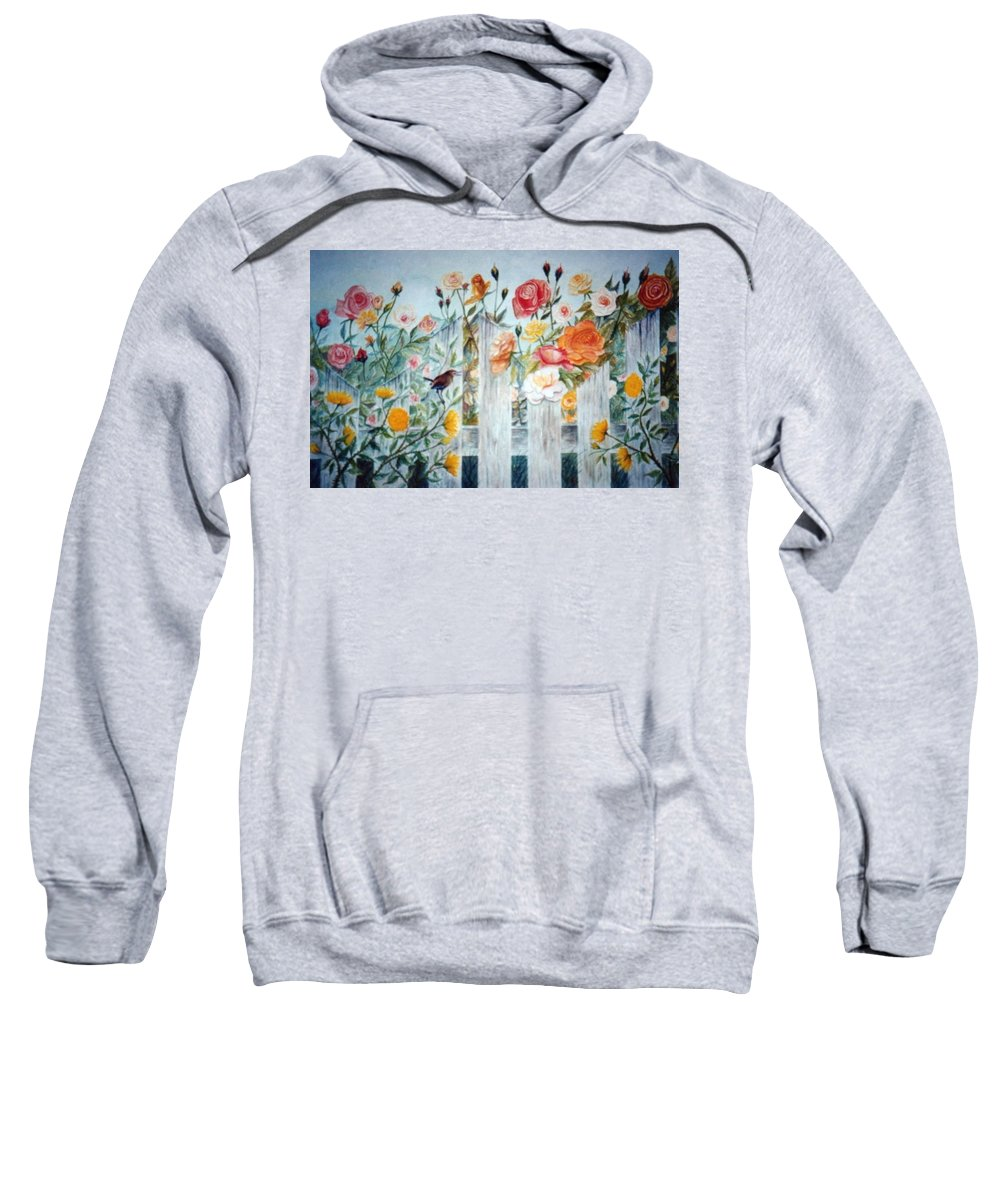 Roses; Flowers; Sc Wren Sweatshirt featuring the painting Carolina Wren And Roses by Ben Kiger