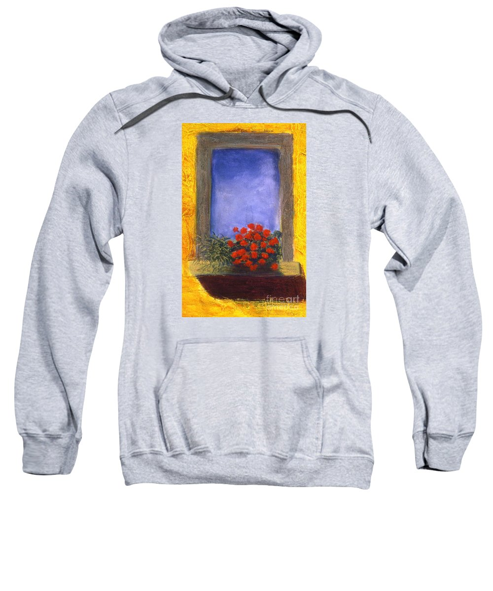 Colorful Sweatshirt featuring the painting La Finstra Con I Fiori by Mary Erbert