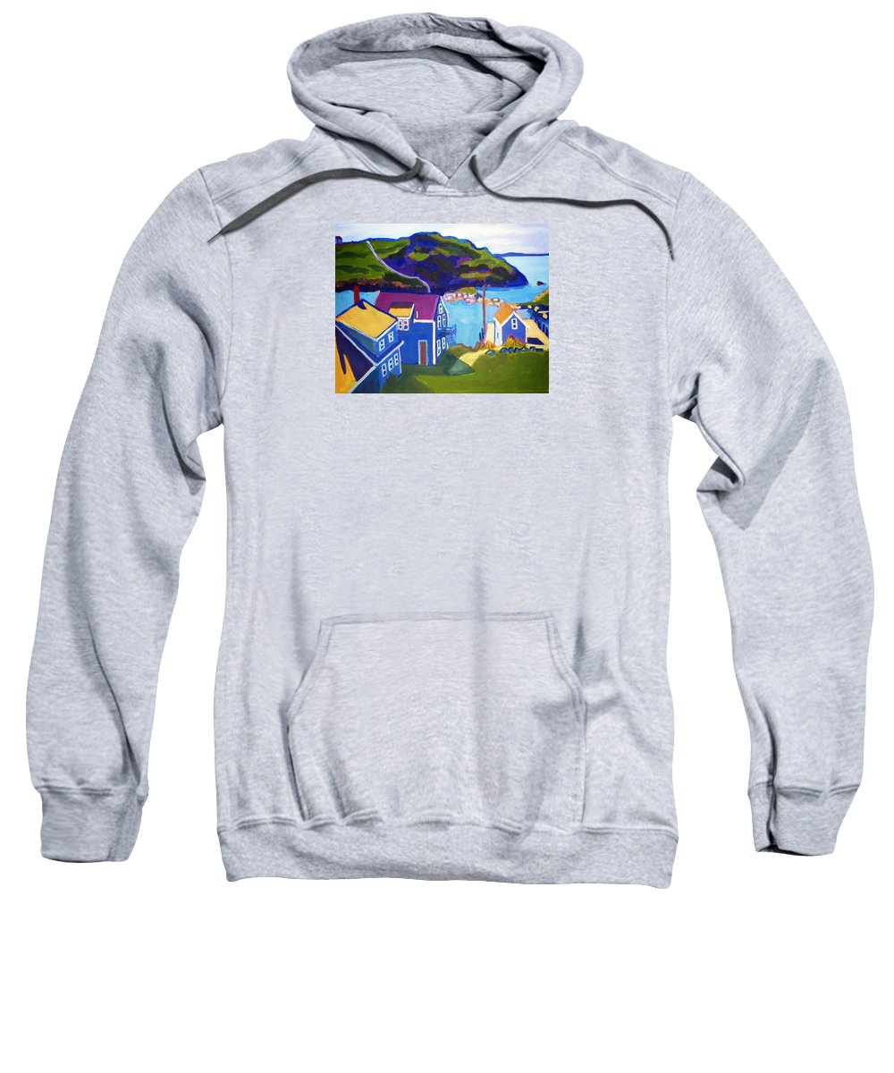 Seascape Sweatshirt featuring the painting Monhegan Harbor by Debra Robinson