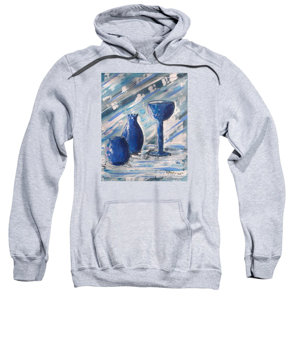 Vases Sweatshirt featuring the painting My Blue Vases by J R Seymour