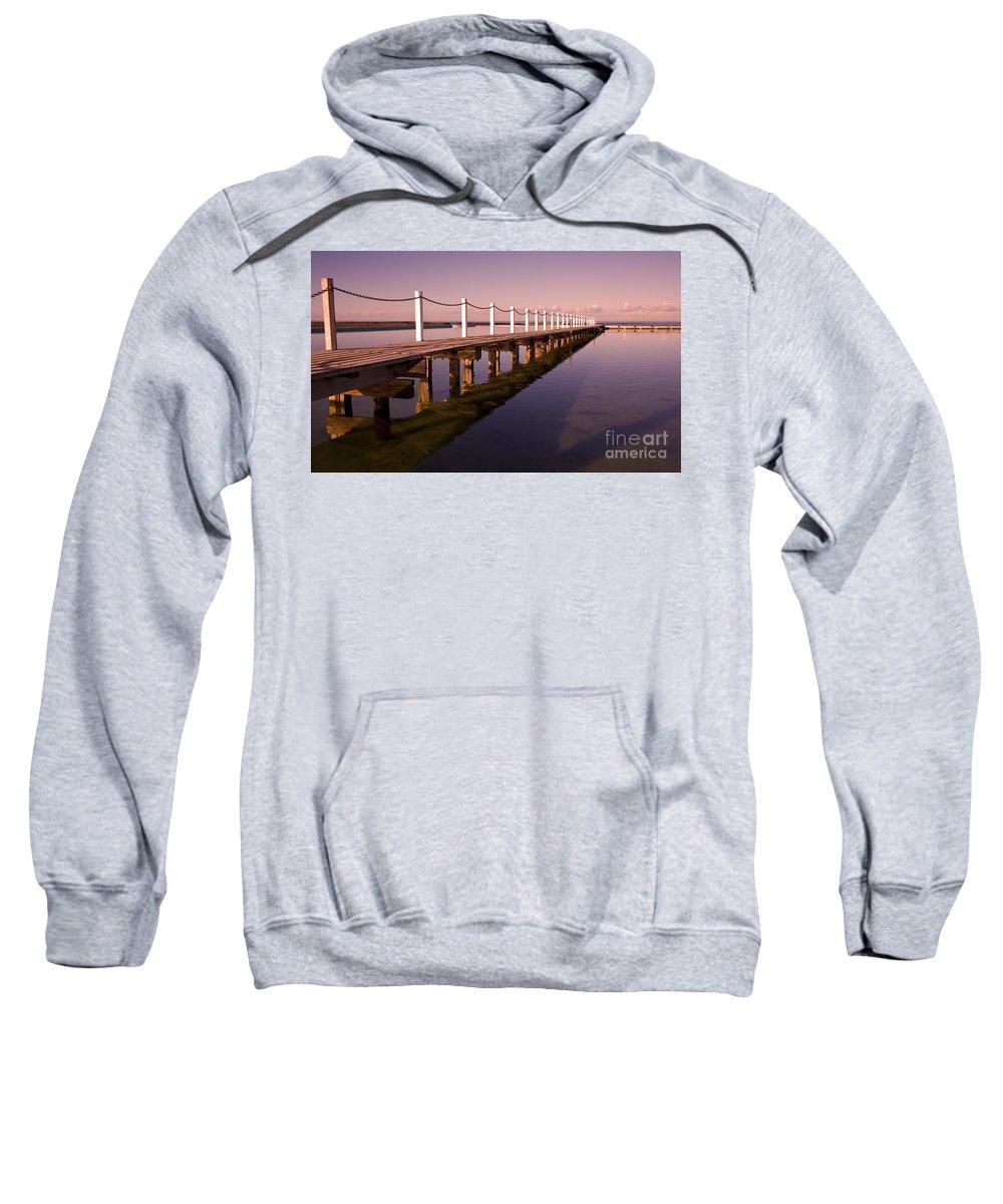 Narrabeen Sydney Sunrise Wharf Walkway Sweatshirt featuring the photograph Narrabeen Sunrise by Avalon Fine Art Photography