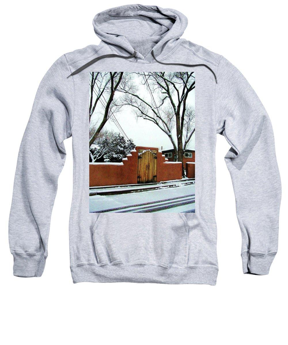 Gates Sweatshirt featuring the photograph Santa Fe Residential Street Scene by Diana Dearen