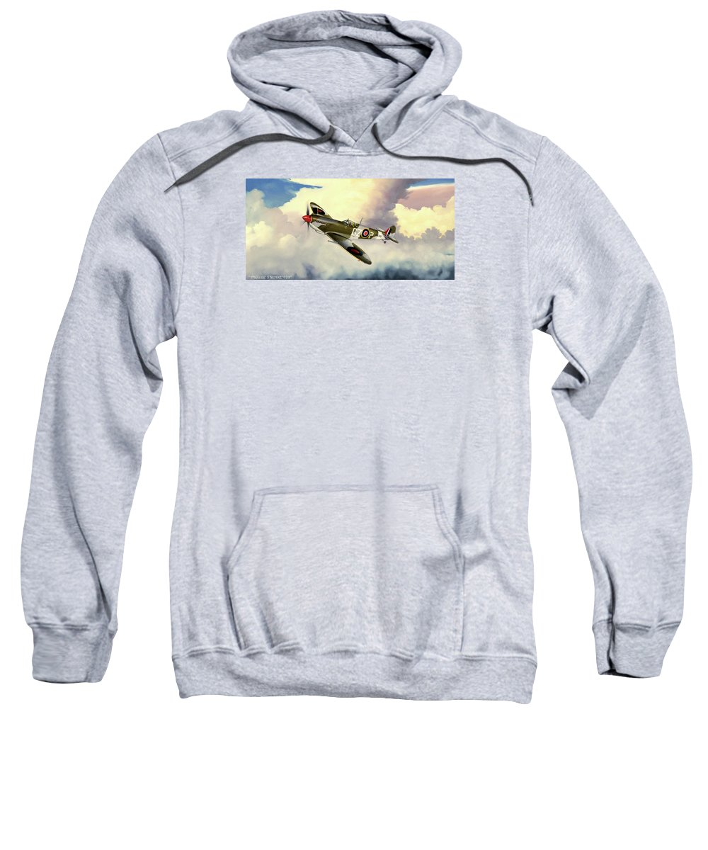 Military Sweatshirt featuring the painting Spitfire by Marc Stewart
