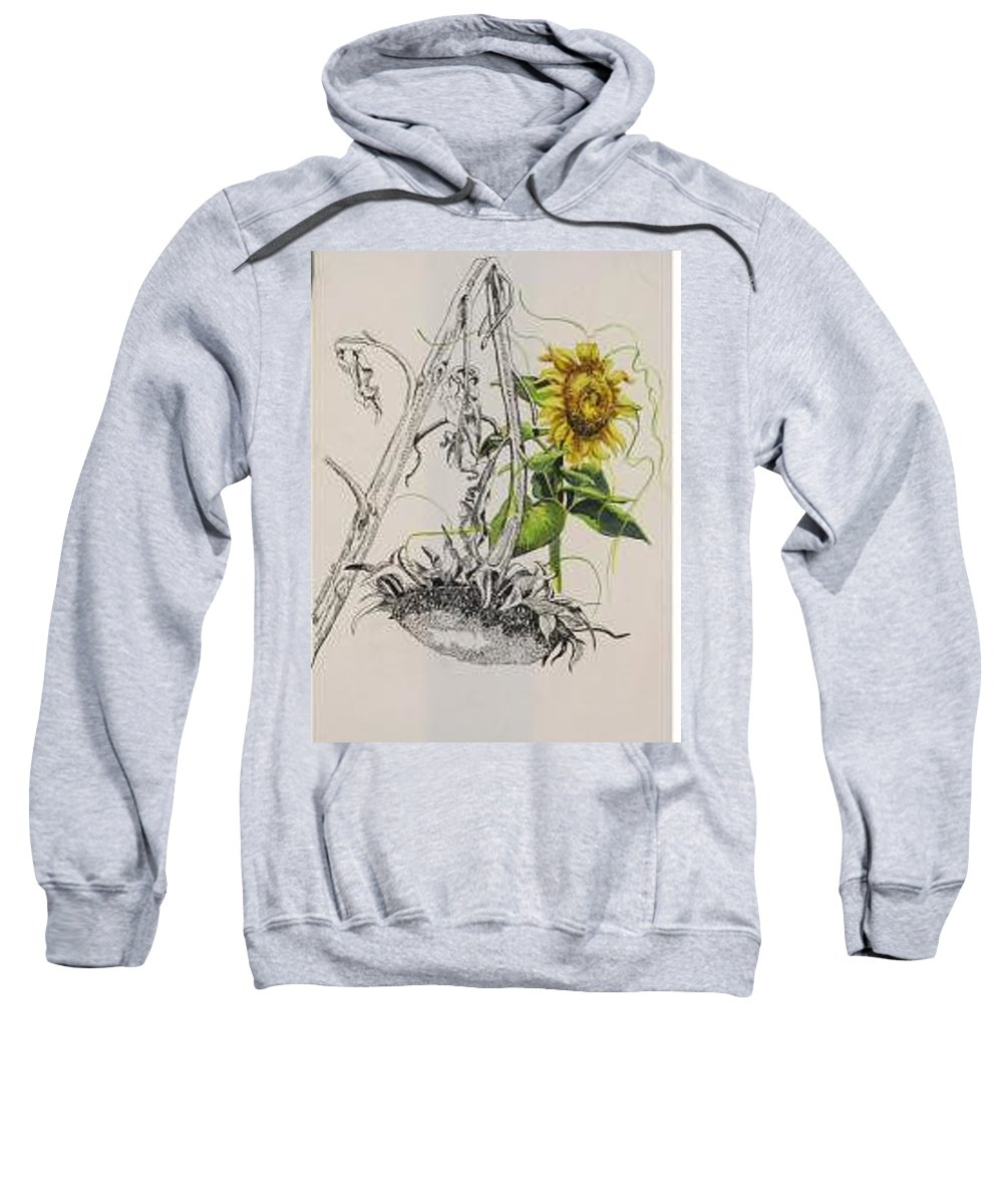 Large Sunflowers Featured Sweatshirt featuring the painting Sunflowers by Wanda Dansereau
