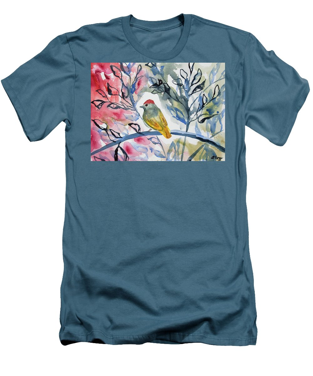 watercolor green tailed towhee impression slim fit t shirt for sale by cascade colors. Black Bedroom Furniture Sets. Home Design Ideas