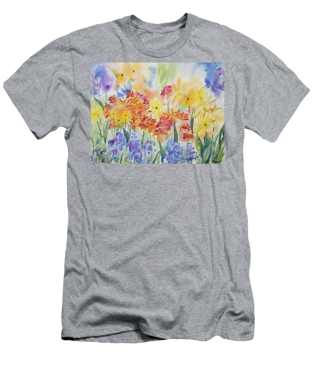 watercolor mountain wildflower impressions slim fit t shirt for sale by cascade colors. Black Bedroom Furniture Sets. Home Design Ideas