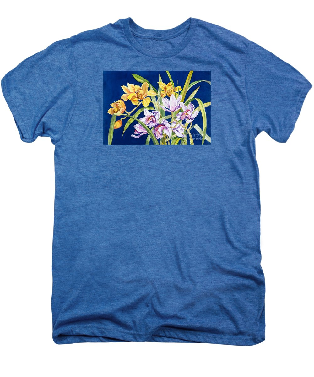 Orchids Men's Premium T-Shirt featuring the painting Orchids In Blue by Lucy Arnold