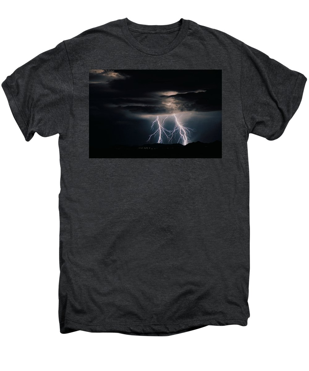 Arizona Men's Premium T-Shirt featuring the photograph Carefree Lightning by Cathy Franklin