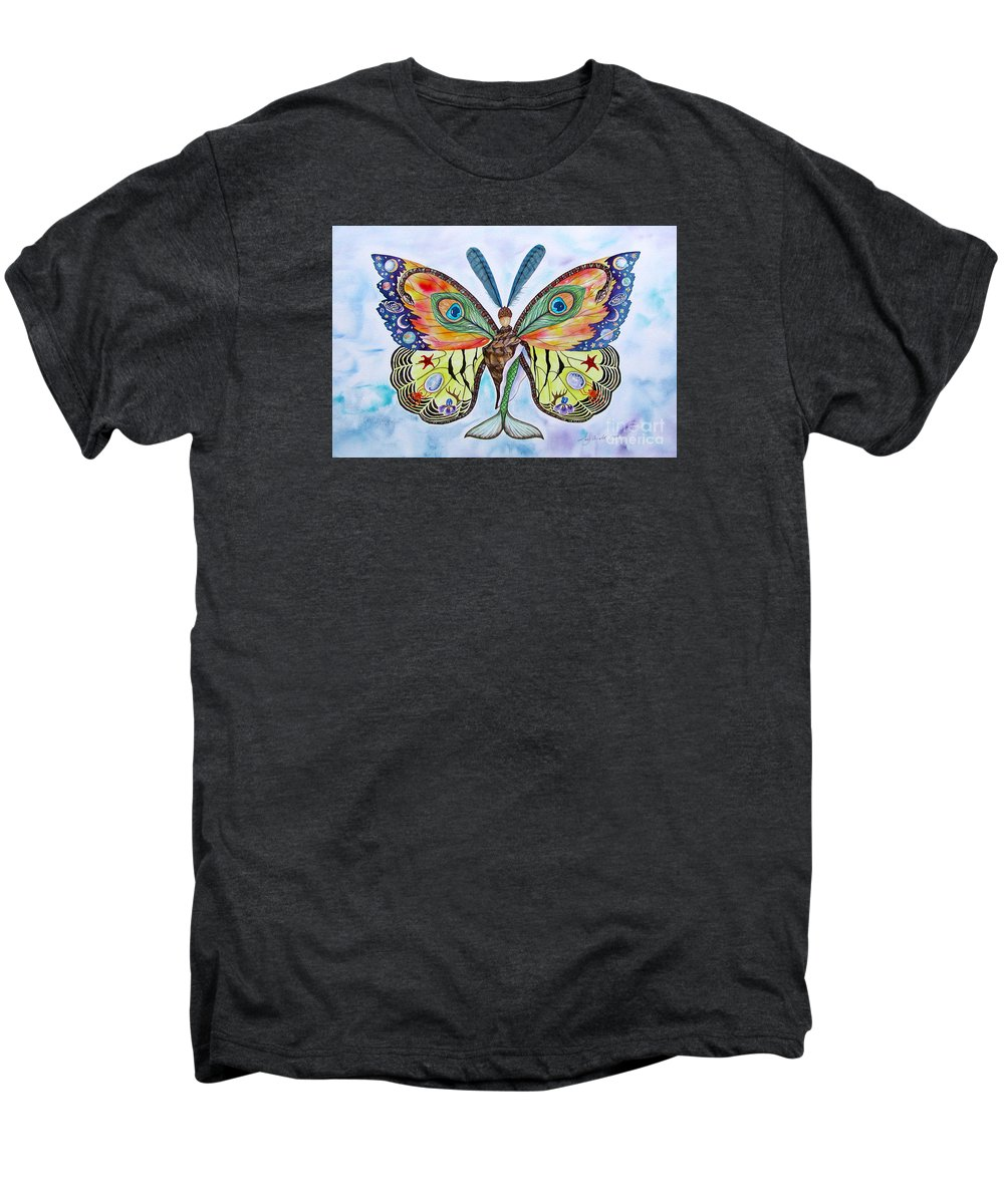 Butterfly Men's Premium T-Shirt featuring the painting Winged Metamorphosis by Lucy Arnold