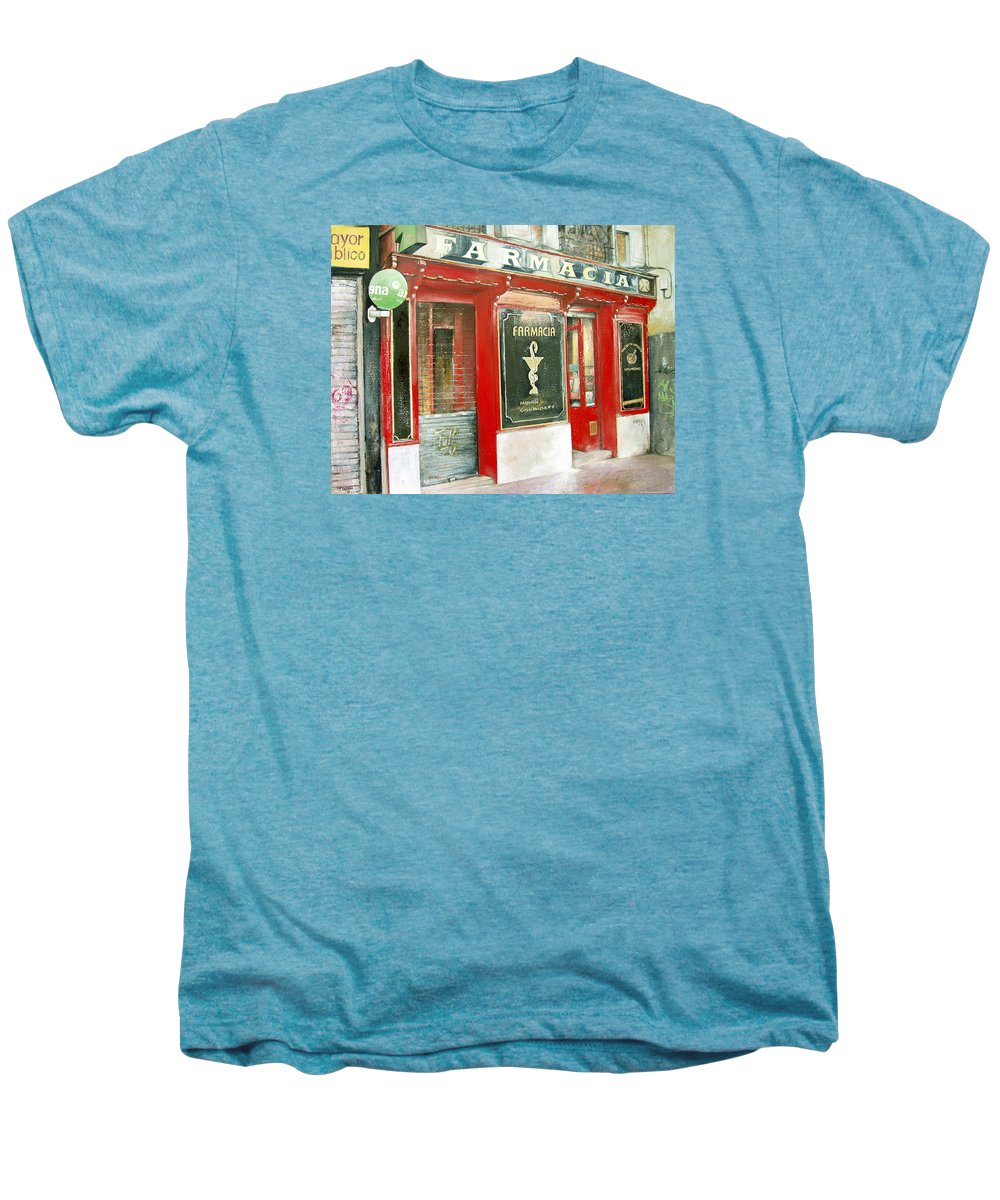Farmacia Men's Premium T-Shirt featuring the painting Old Pharmacy by Tomas Castano