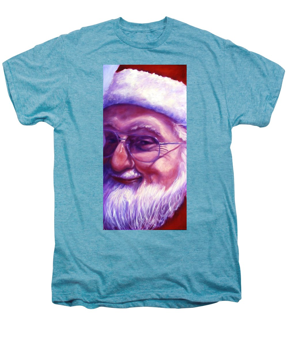 Portrait Men's Premium T-Shirt featuring the painting Are You Sure You Have Been Nice by Shannon Grissom