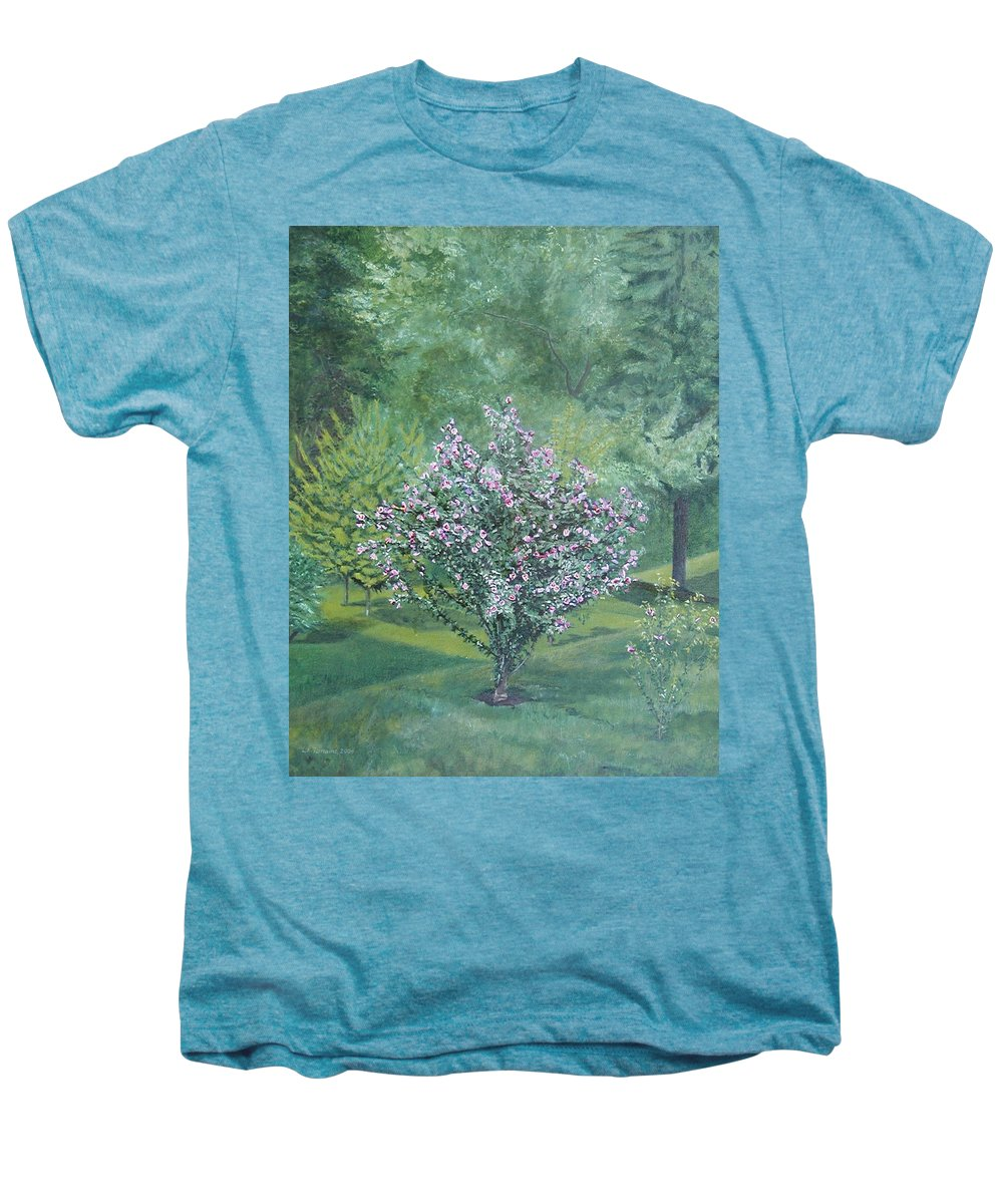 Blooming Men's Premium T-Shirt featuring the painting Charles Street by Leah Tomaino