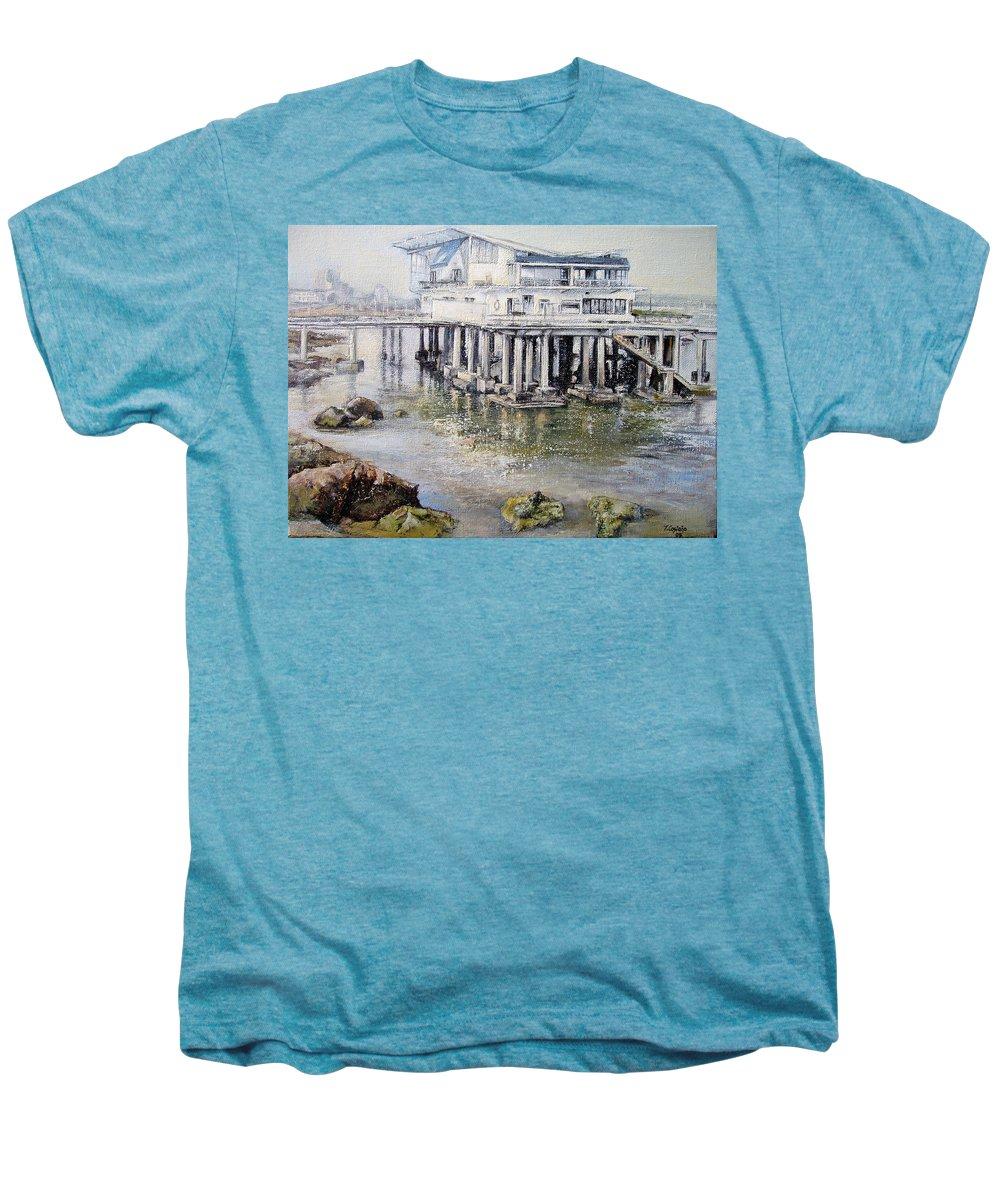 Maritim Men's Premium T-Shirt featuring the painting Maritim Club Castro Urdiales by Tomas Castano