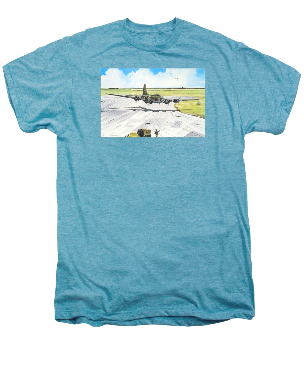 Military Men's Premium T-Shirt featuring the painting The Memphis Belle by Marc Stewart